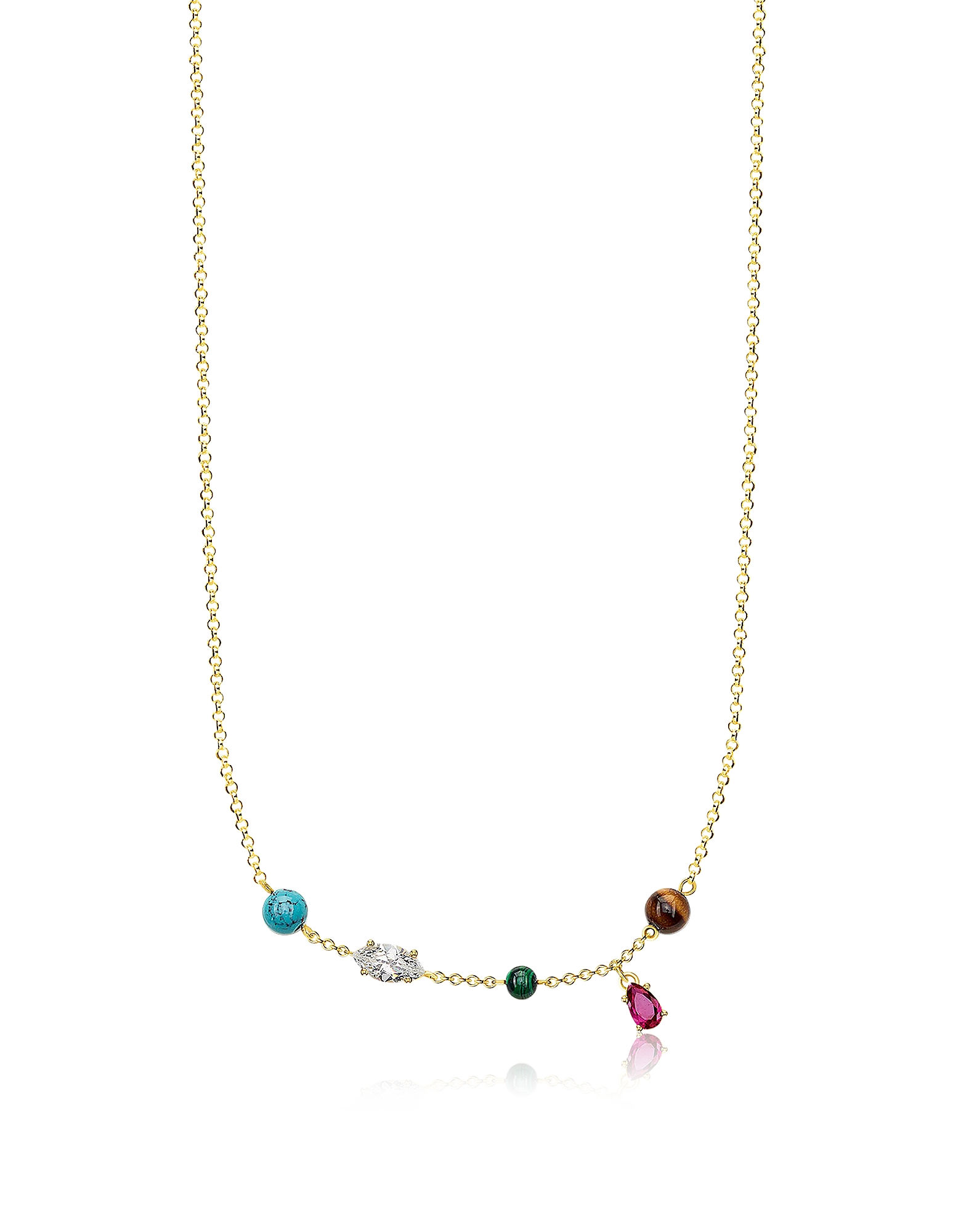 Thomas Sabo Necklaces, Gold Plated Sterling Silver Riviera Colours Necklace w/Ceramic Stones