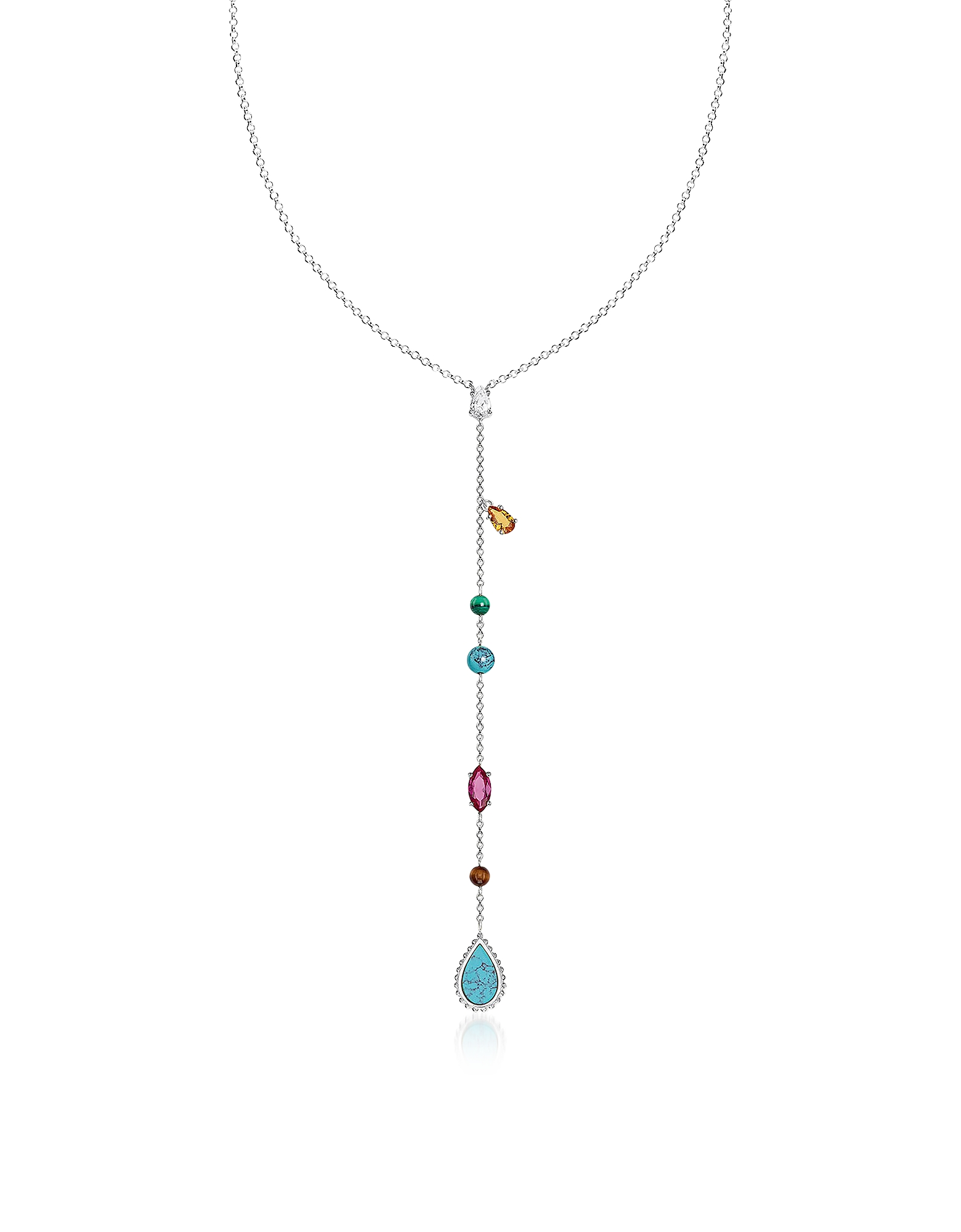 Thomas Sabo Necklaces, Sterling Silver Riviera Colours Long Necklace w/Ceramic Stones
