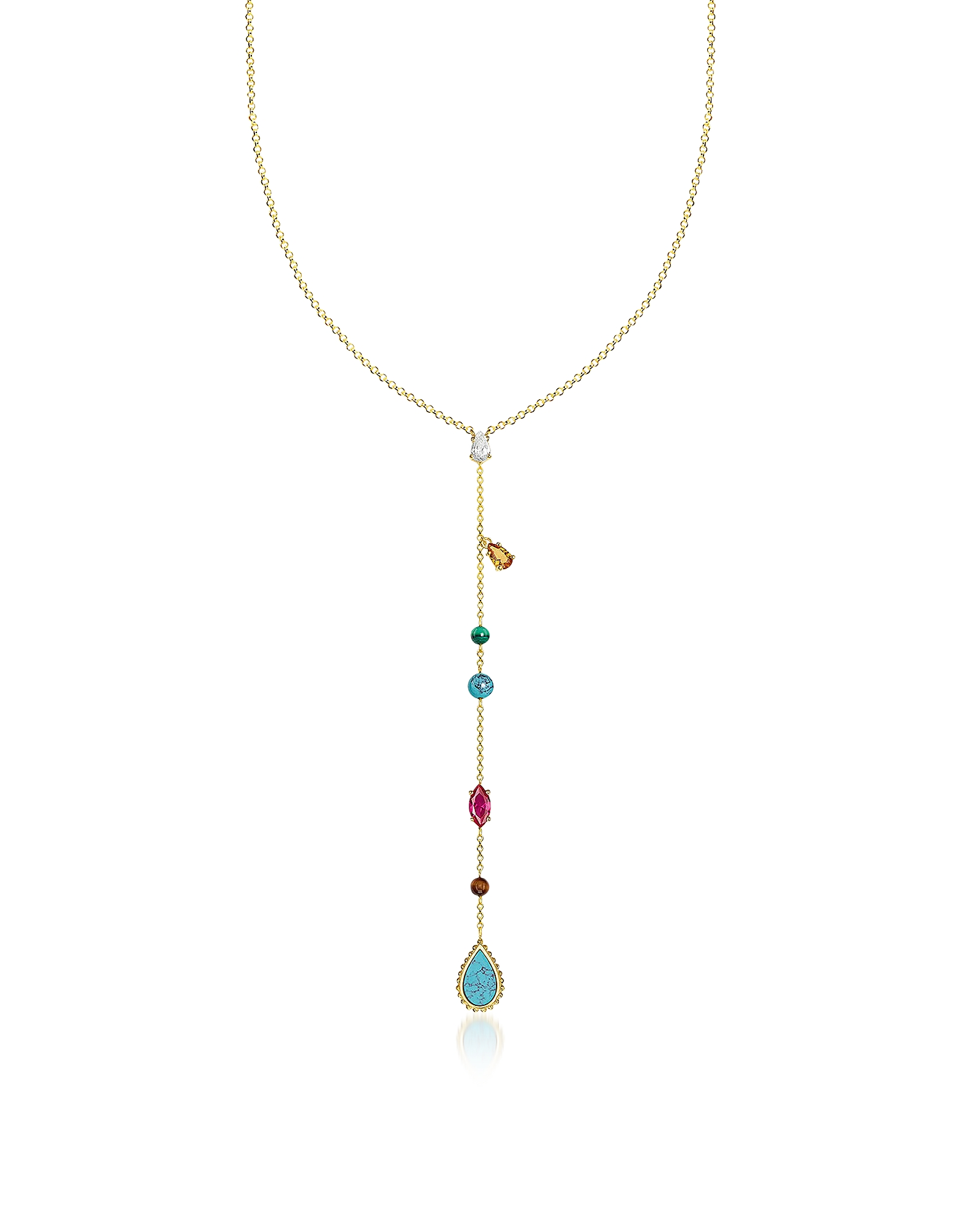 Gold Plated Sterling Silver Riviera Colours Long Necklace w/Ceramic Stones