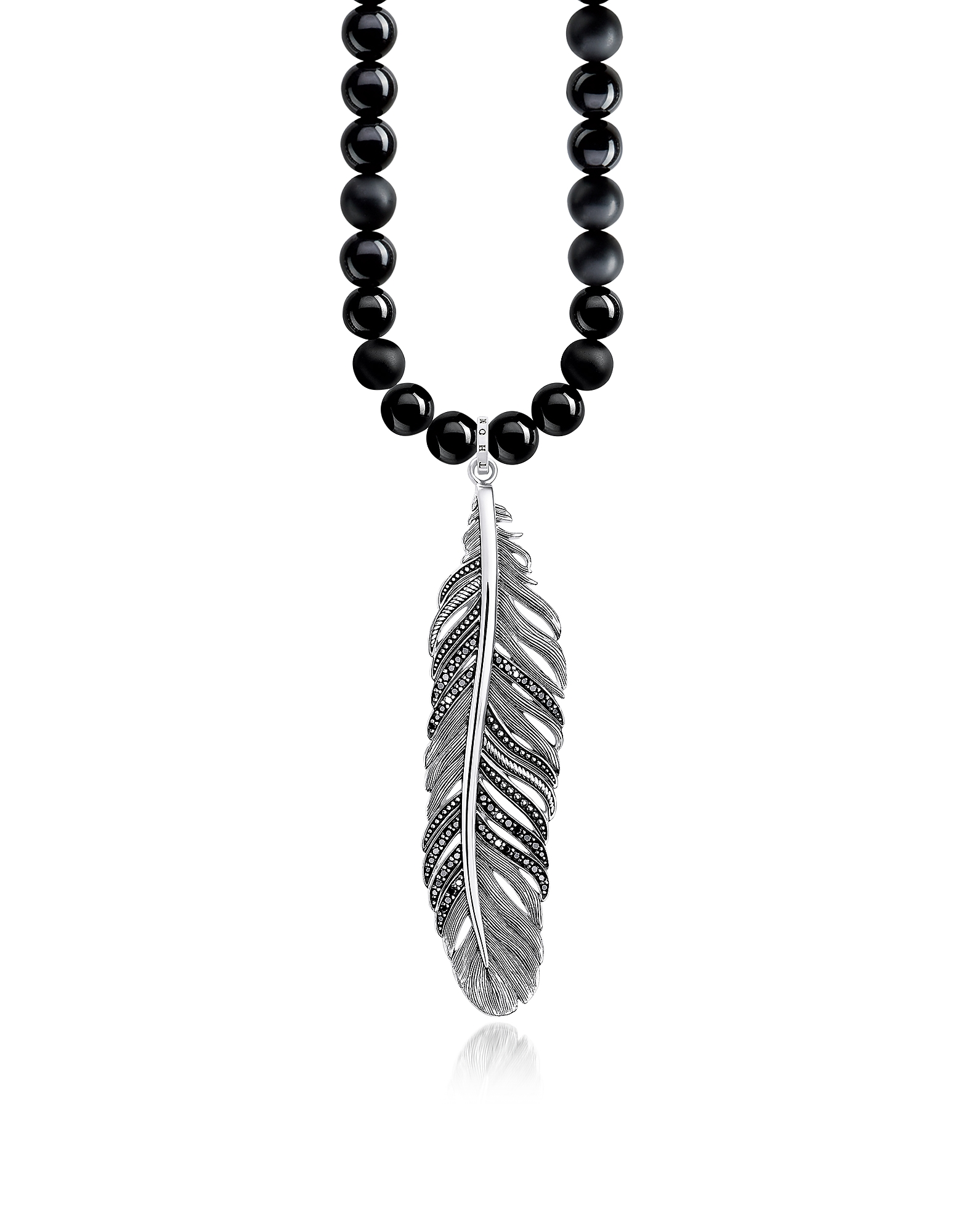 Rebel Icons Black Beads and Sterling Silver Feather Pendant Necklace