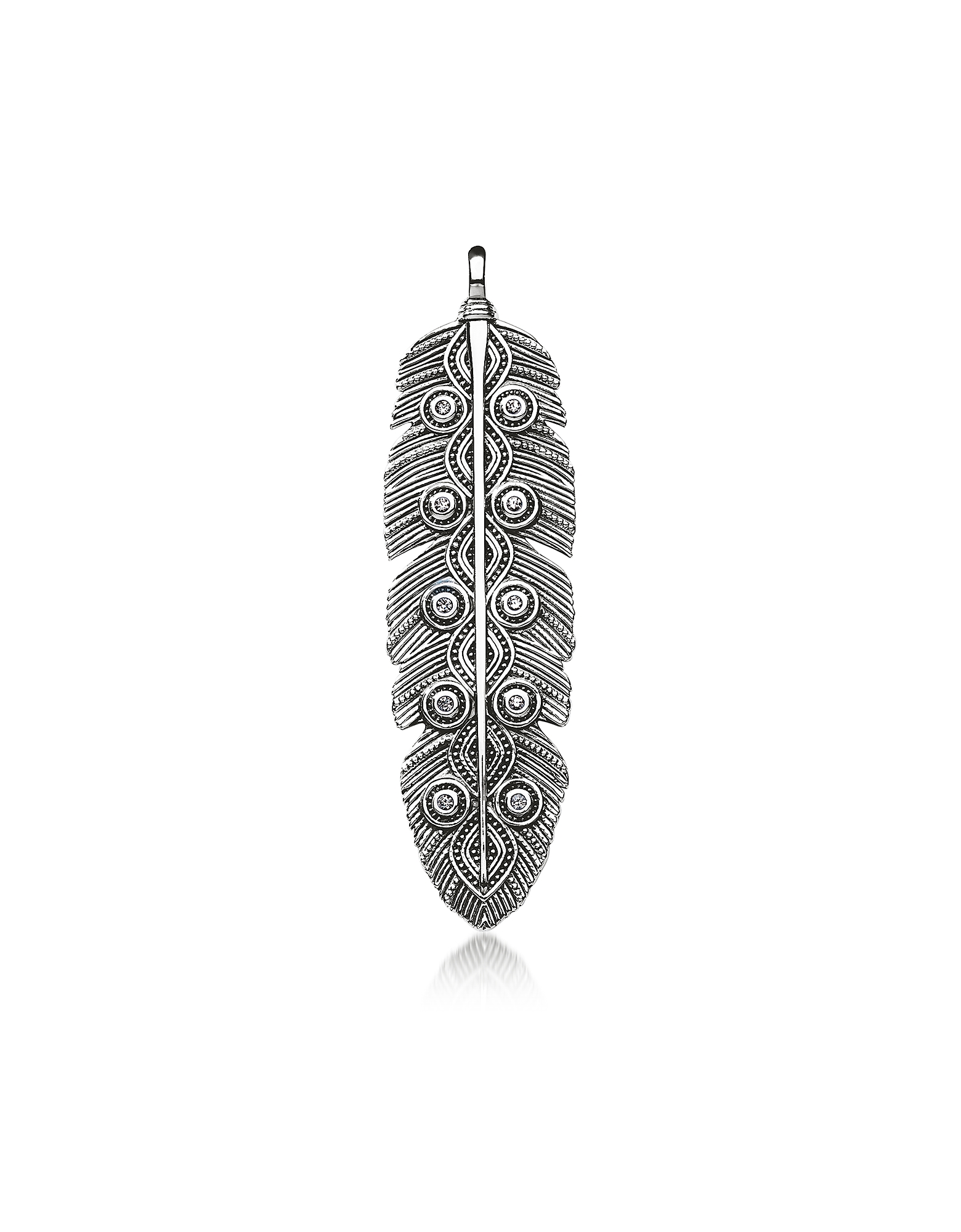 Rebel Icon Sterling Silver Ethno Feather Pendant w/Cubic Zirconia