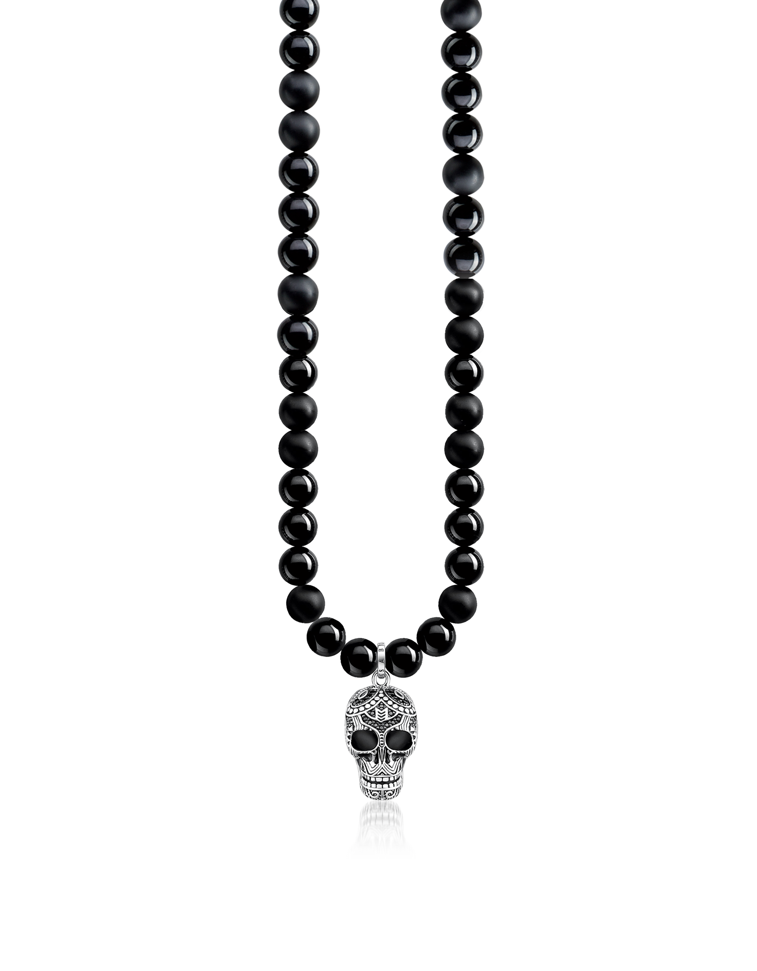 Image of Blackened 925 Sterling Silver & Obsidian Beads Power Necklace Maori Skull Necklace w/Zirconia Pave