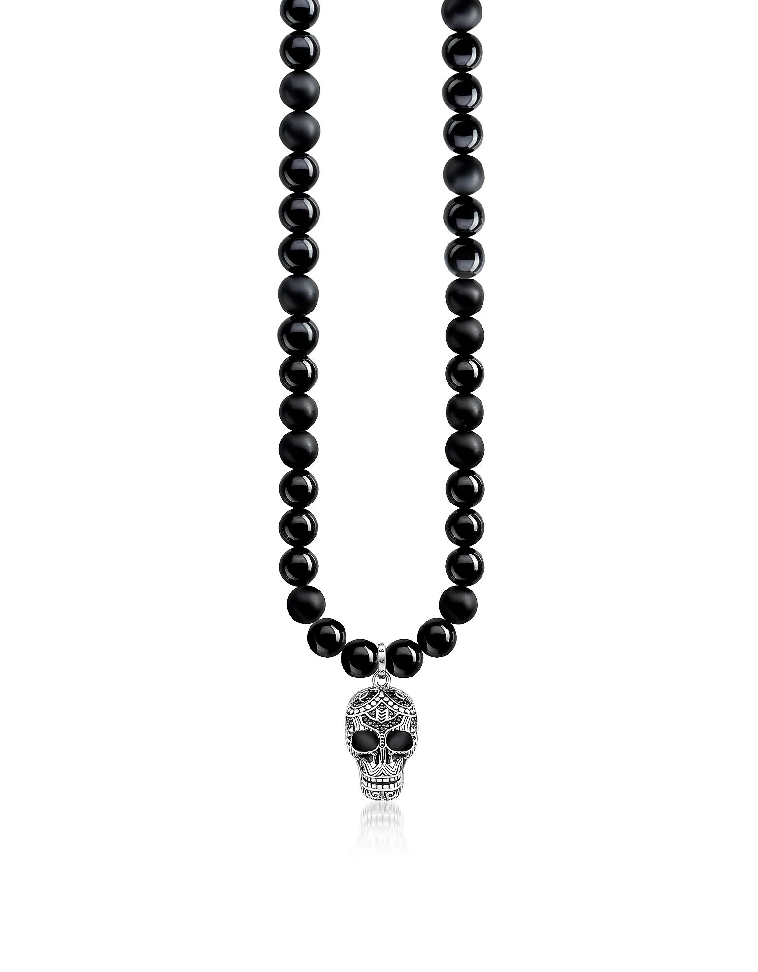 Blackened 925 Sterling Silver & Obsidian Beads Power Necklace Maori Skull Necklace w/Zirconia Pave