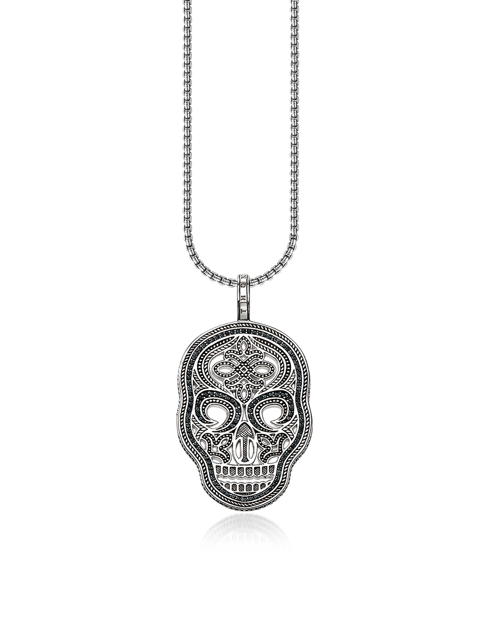 Image of Blackened 925 Sterling Silver and Zirconia Pave Necklace w/Skull Mask Pendant