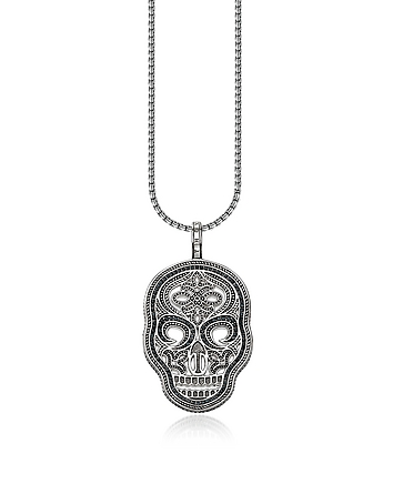 Blackened 925 Sterling Silver and Zirconia Pave Necklace w/Skull Mask Pendant