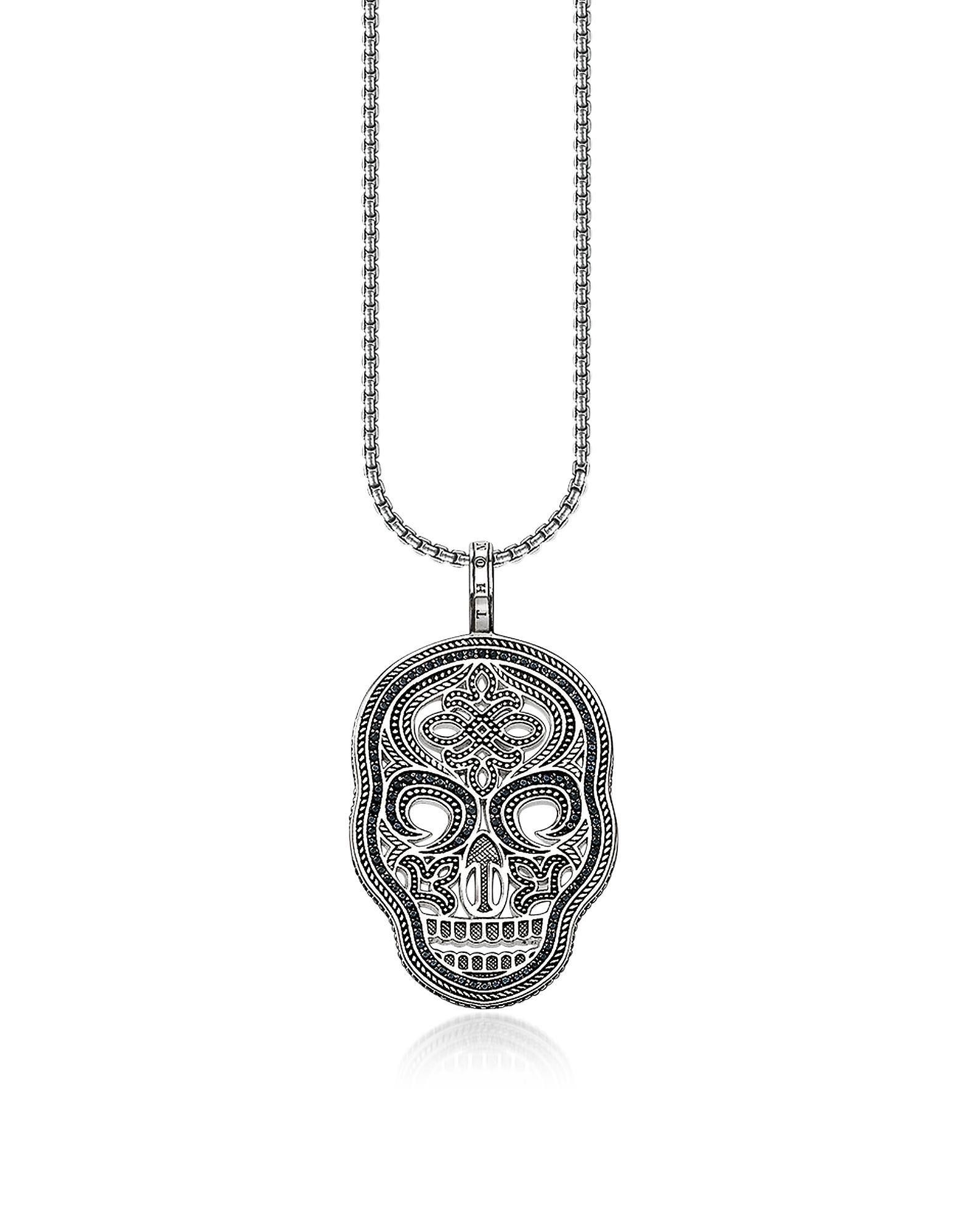 Thomas Sabo Designer Men's Necklaces, Blackened 925 Sterling Silver and Zirconia Pave Necklace w/Skull Mask Pendant