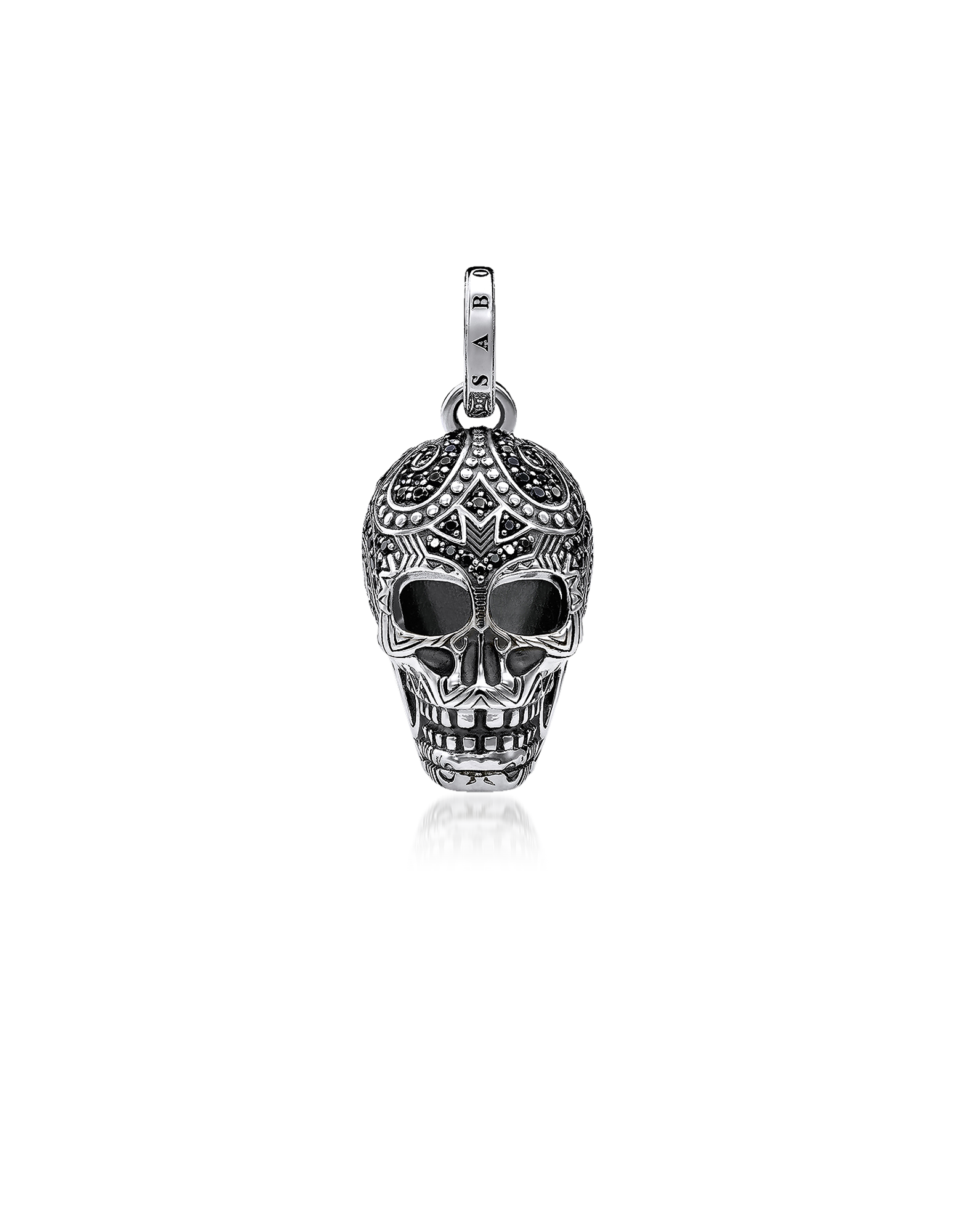 Image of Blackened 925 Sterling Silver and Zirconia Maori Skull Pendant