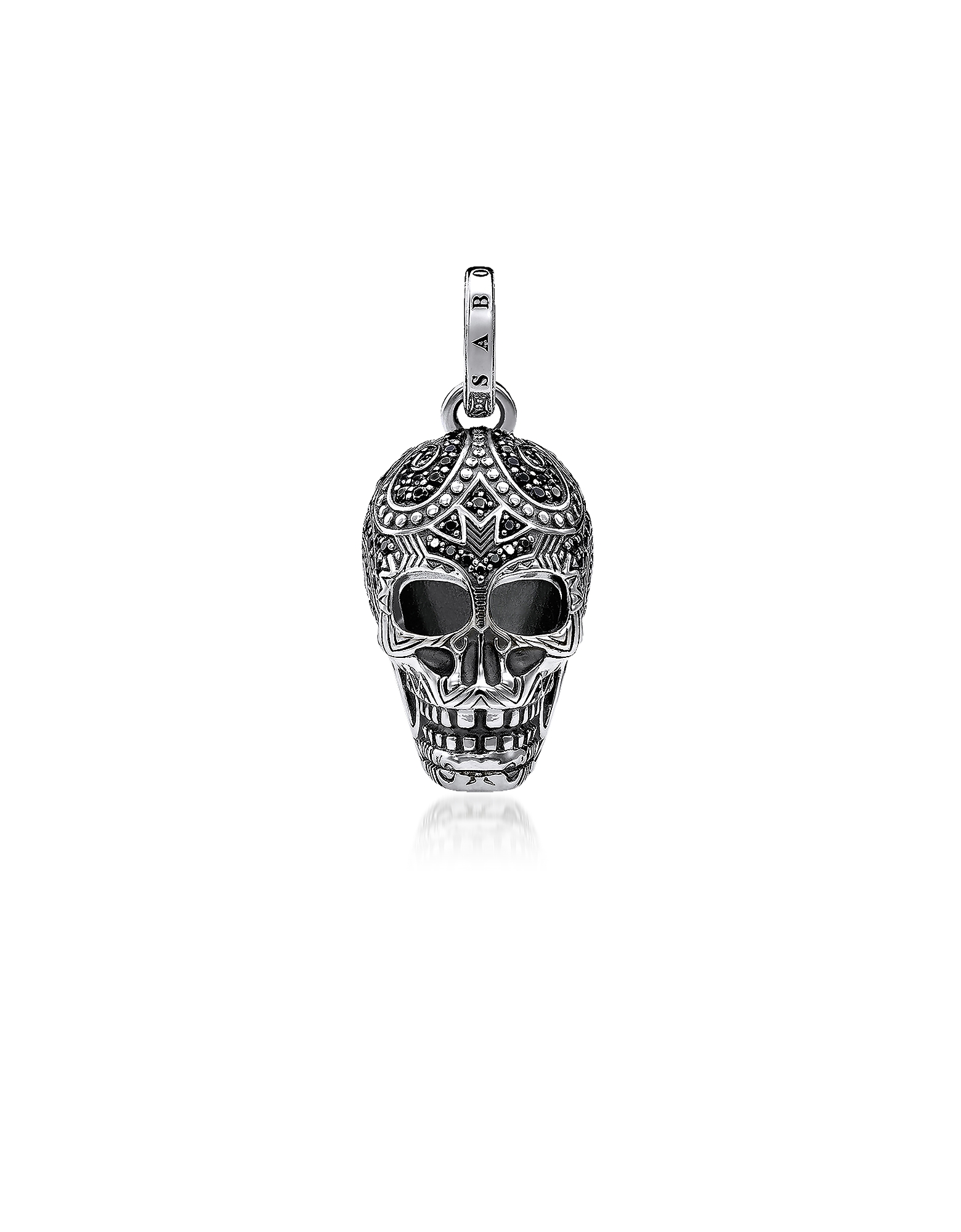 Blackened 925 Sterling Silver and Zirconia Maori Skull Pendant