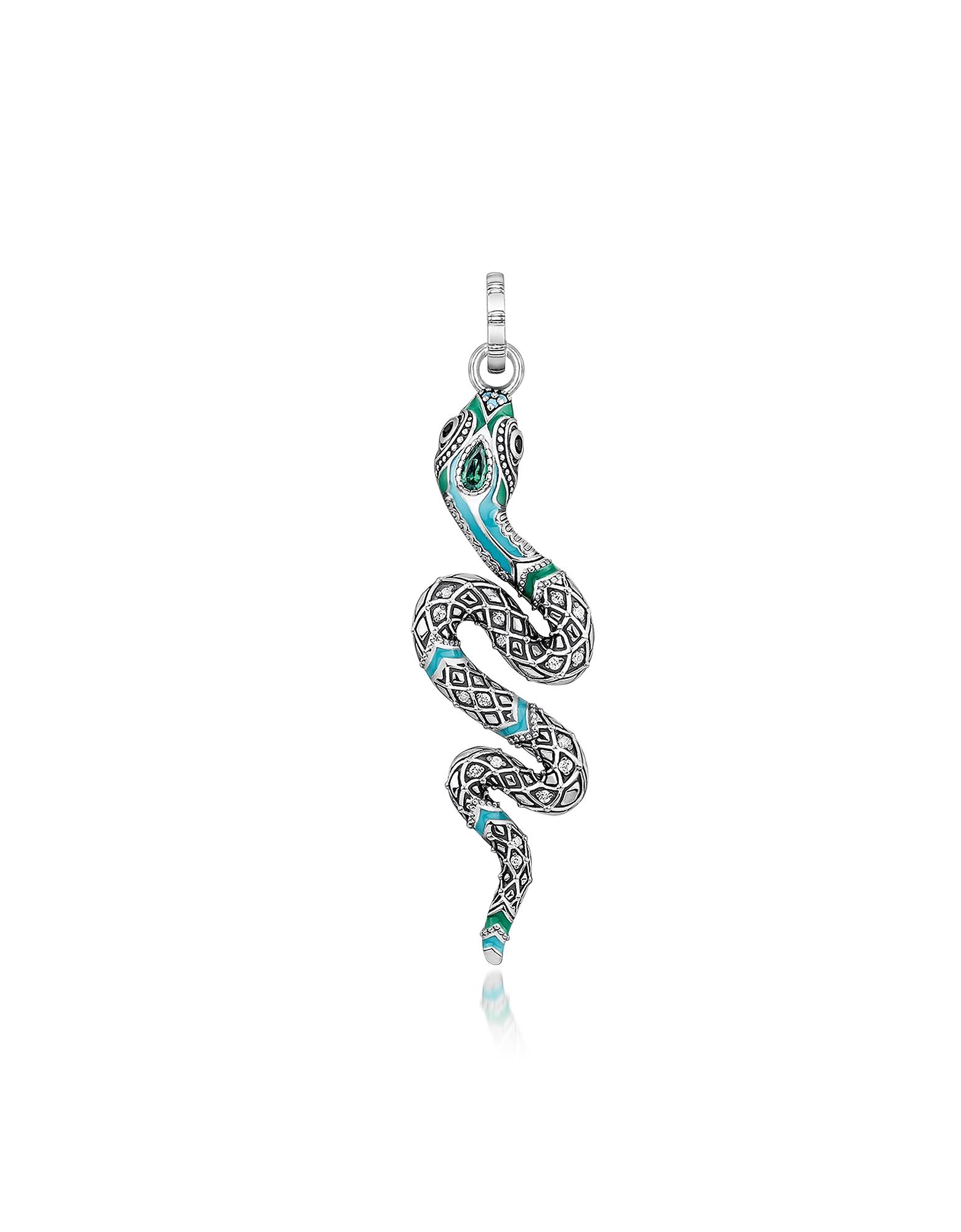 Thomas Sabo Necklaces, Blackened Sterling Silver, Enamel and Glass-ceramic Stones Snake Pendant