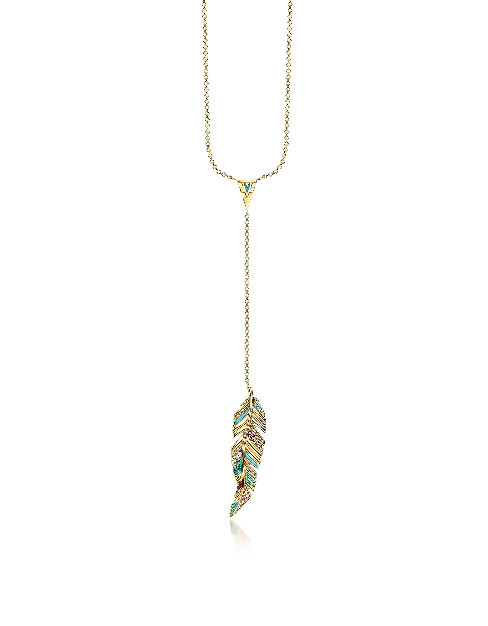 Thomas Sabo Necklaces, Gold Plated Sterling Silver, Enamel and Glass-ceramic Stones Feather Necklace