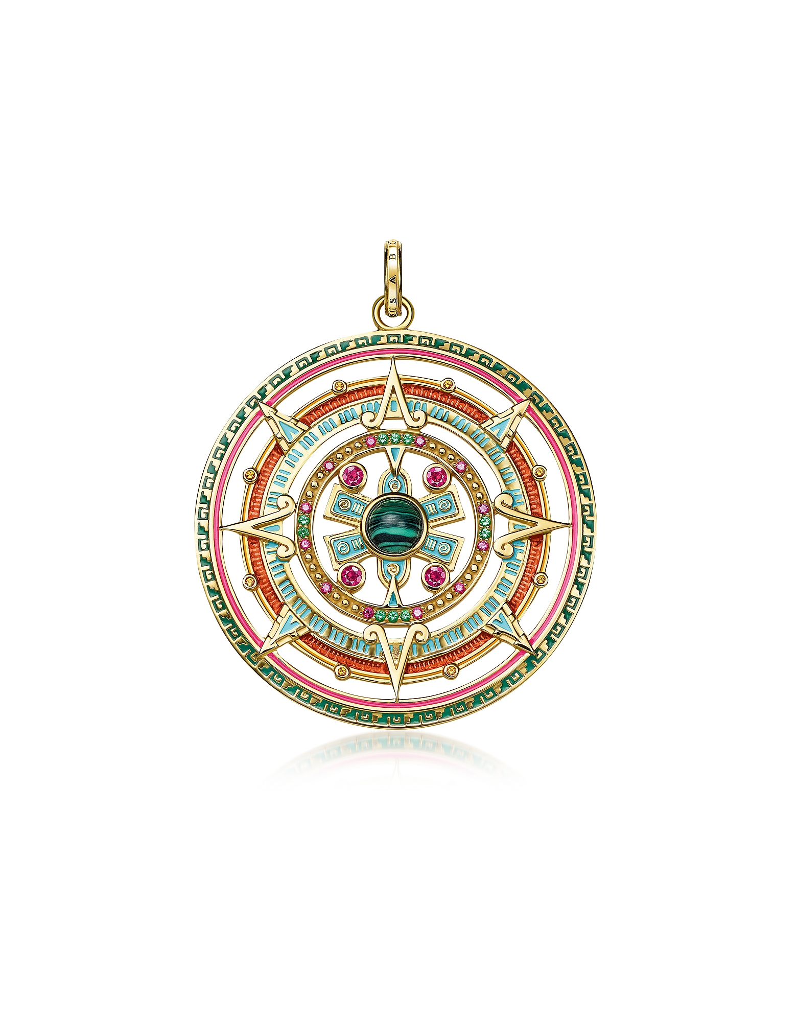 Thomas Sabo Necklaces, Gold Plated Sterling Silver, Enamel and Glass-ceramic Stones Amulet Pendant