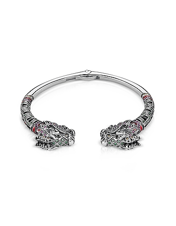 Blackened Sterling silver Glass-ceramic Stones Synthetic Corundum and Cubic Zirconia Dragon Bangle
