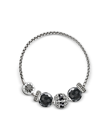 Blackened Sterling Silver Bracelet w/Obsidian and Onyx Beads
