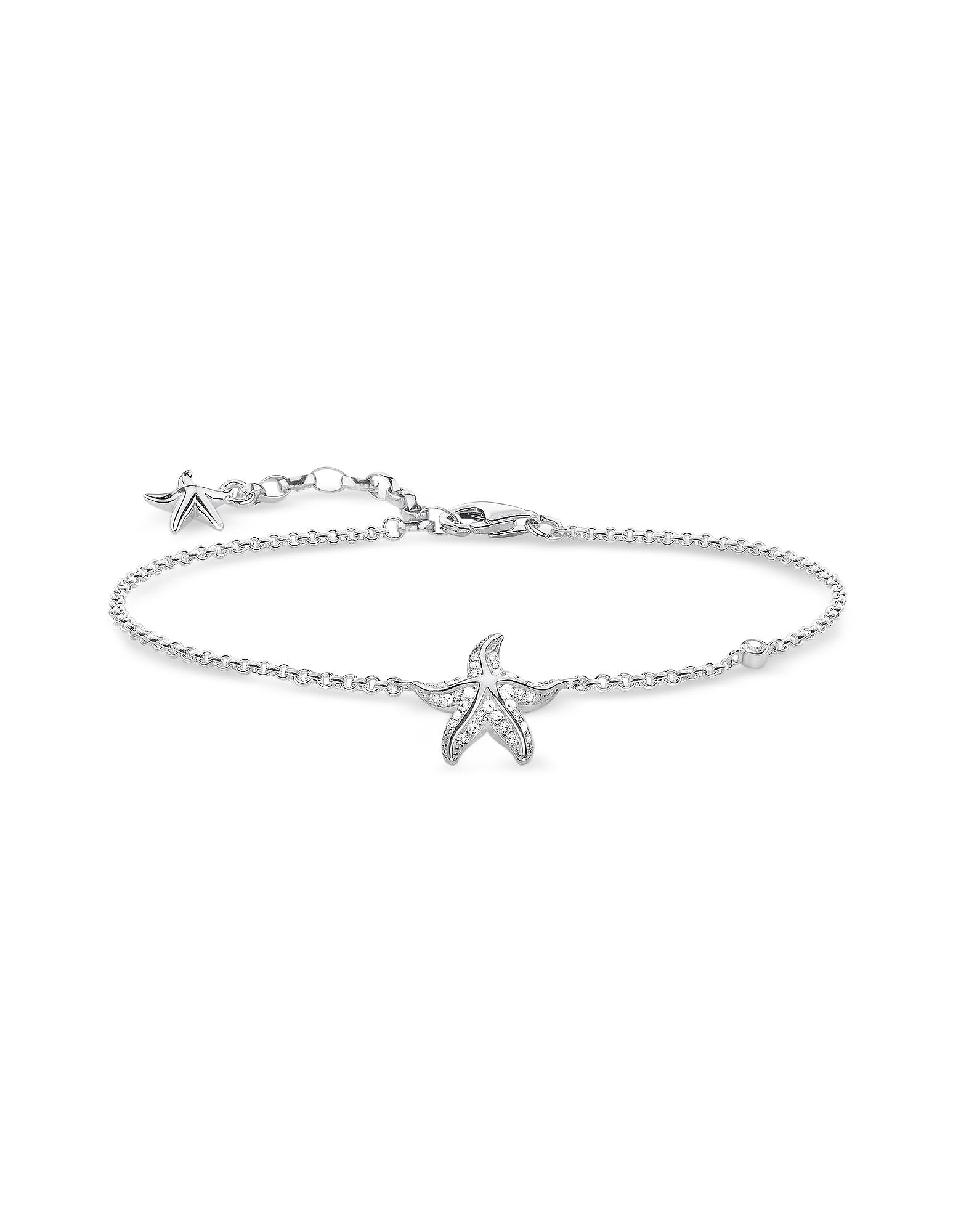 En Argent Sterling Bracelet étoile de mer w/Blanc Zircone