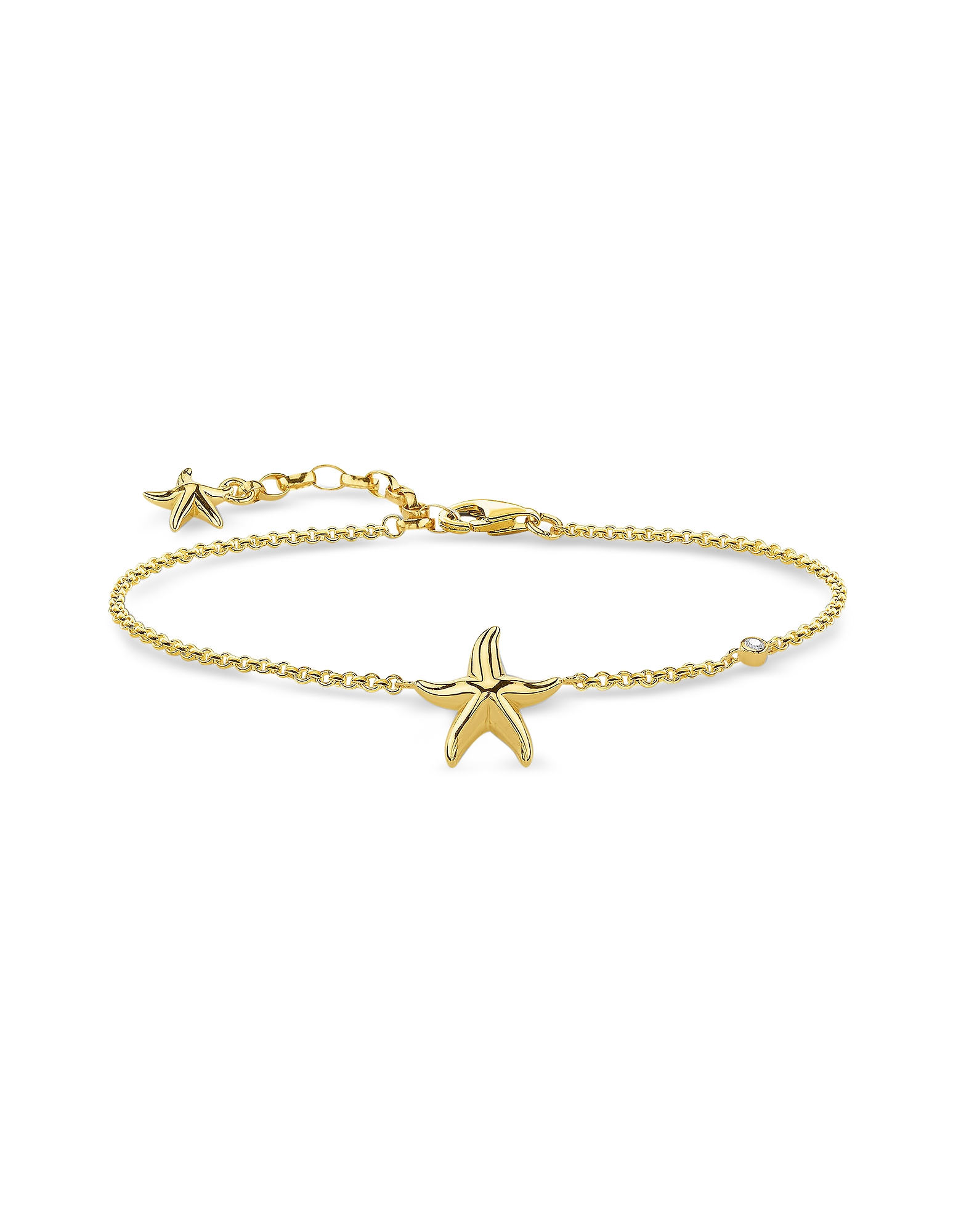 Thomas Sabo Bracelets, Gold Plated Sterling Silver Starfish Bracelet w/White Zirconia