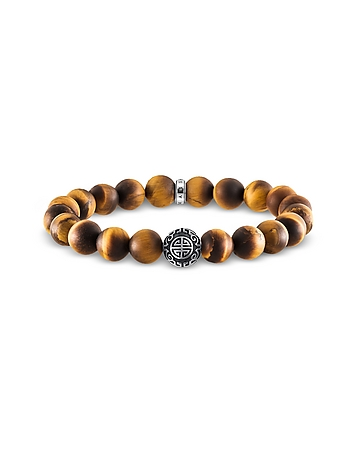 Ethnic Yellow Tiger Eye Beads and Sterling Silver Men's Bracelet