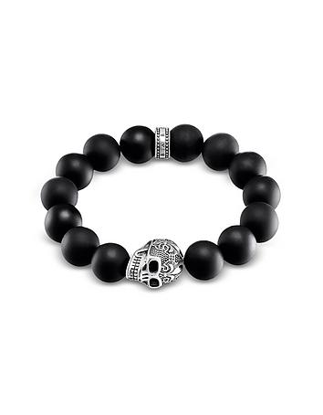 Power Skull Sterling Silver Men's Bracelet w/Obsidian Matt Beads