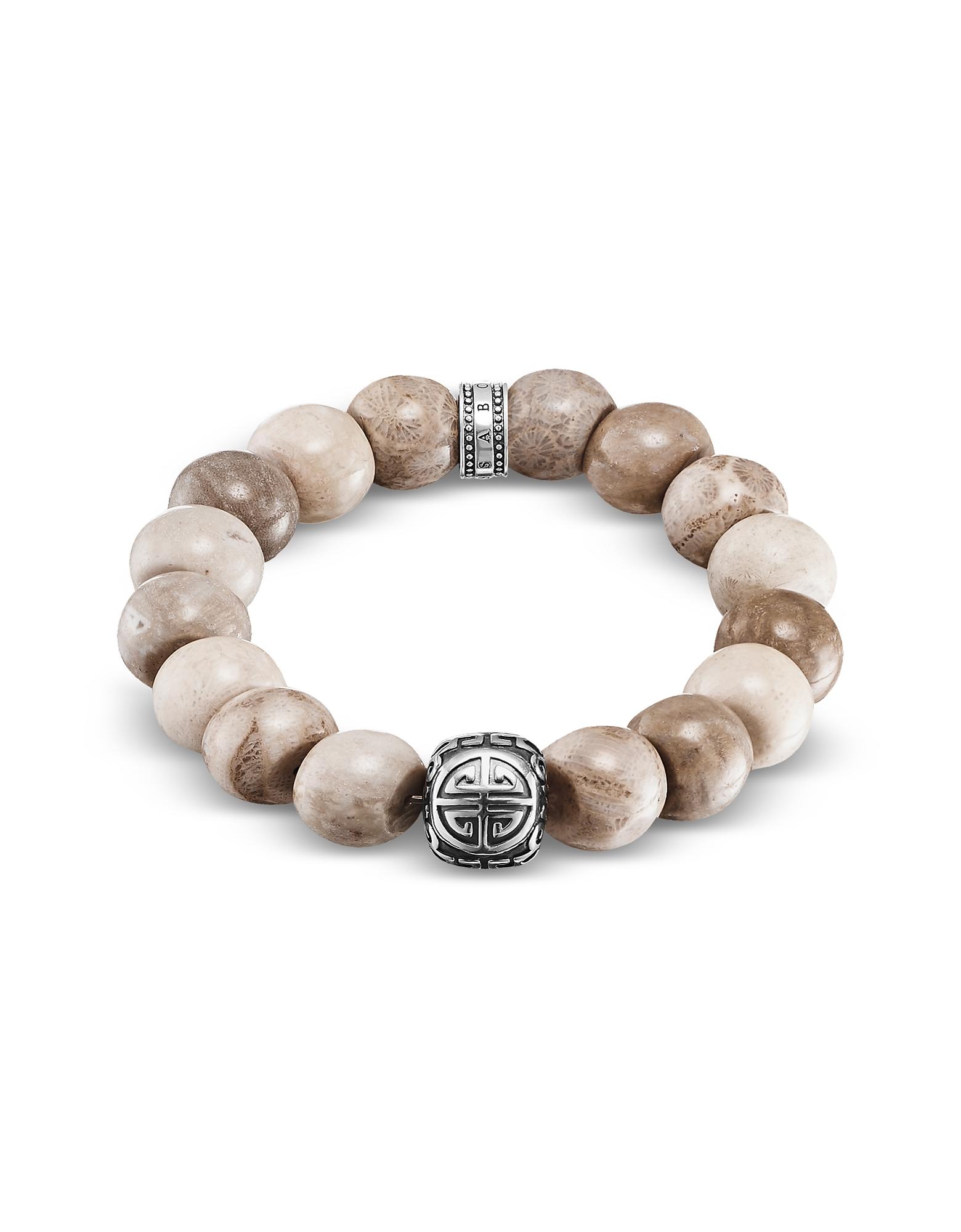 Thomas Sabo Men's Bracelets, Power Skull Sterling Silver Men's Bracelet w/Jasper Beads