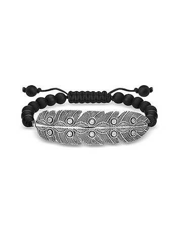 Blackened 925 Sterling Silver Obsidian and Zirconia Ethnic Feather Bracelet