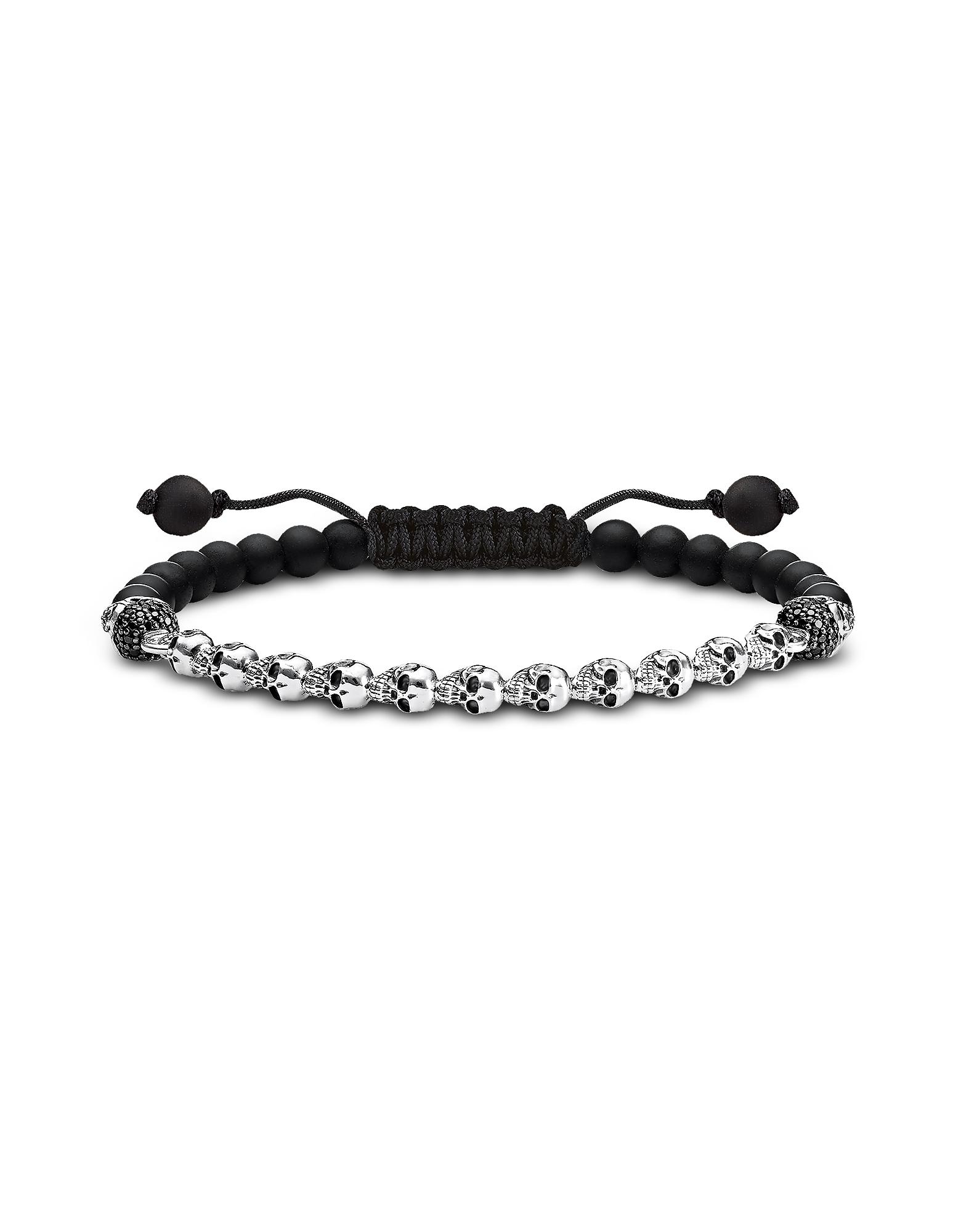 Thomas Sabo Bracelets, Blackened 925 Sterling Silver, Black Obsidian & Zirconia Skulls Bracelet
