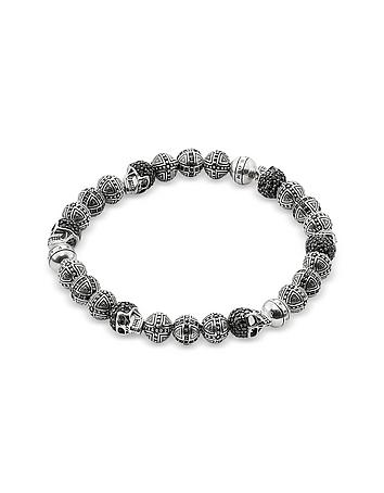 Blackened 925 Sterling Silver Cross and Skulls Bracelet w/Zirconia