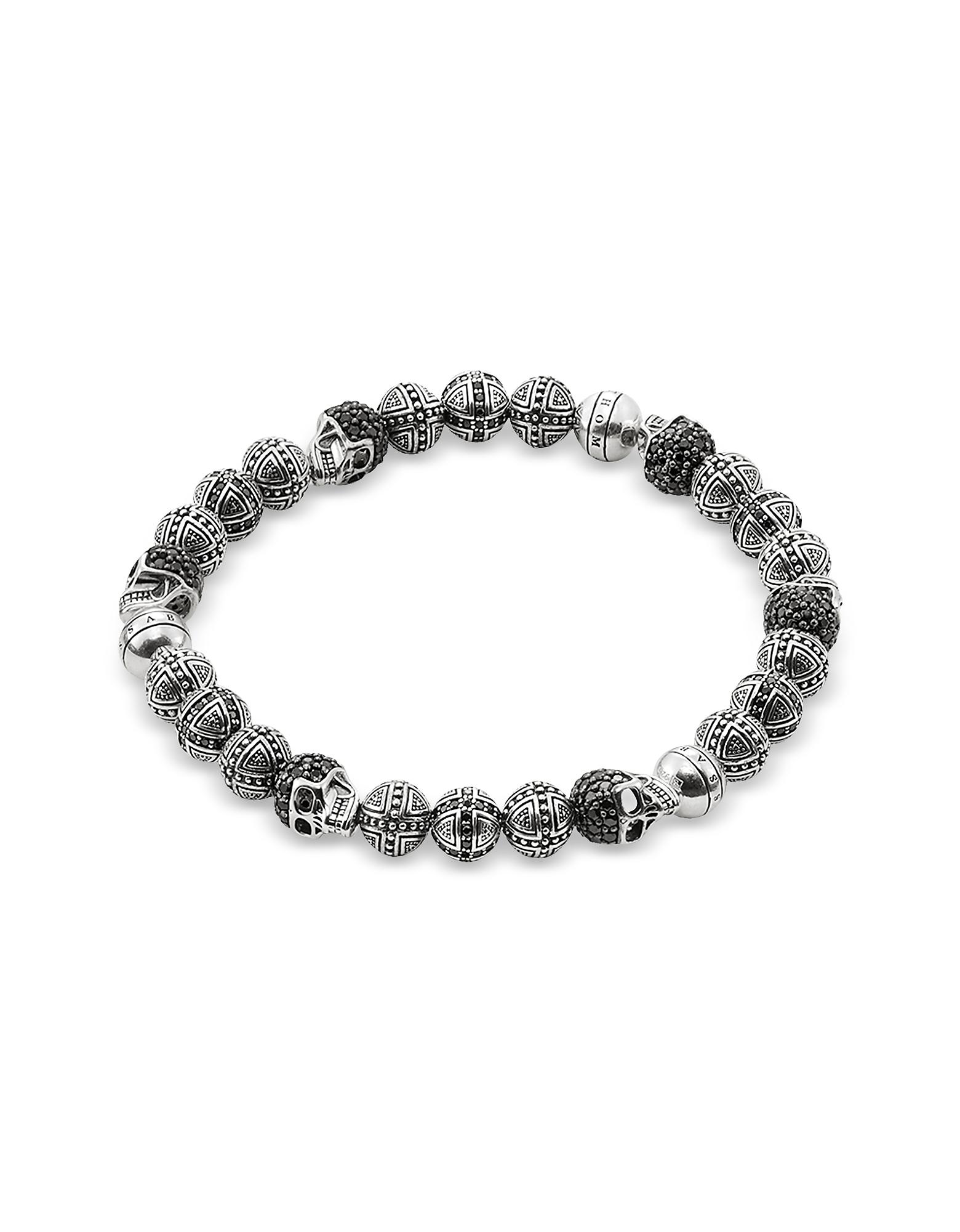 Blackened 925 Sterling Silver Cross and Skulls Bracelet w/Zirconia. Cross and Skulls Bracelet w/Zirconia crafted in blackened 925 sterling silver, is