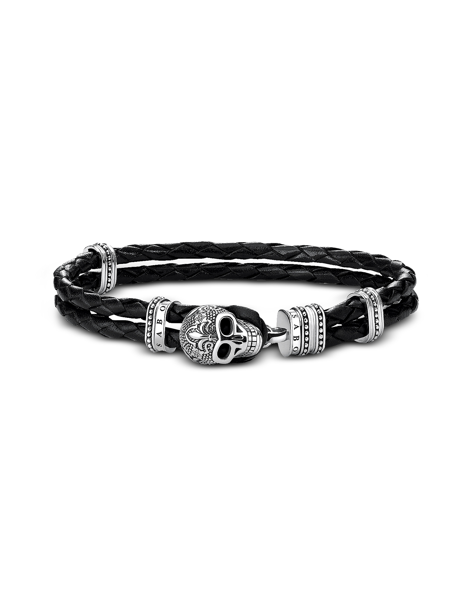 Blackened 925 Sterling Silver and Leather Skull with Lily Double Bracelet