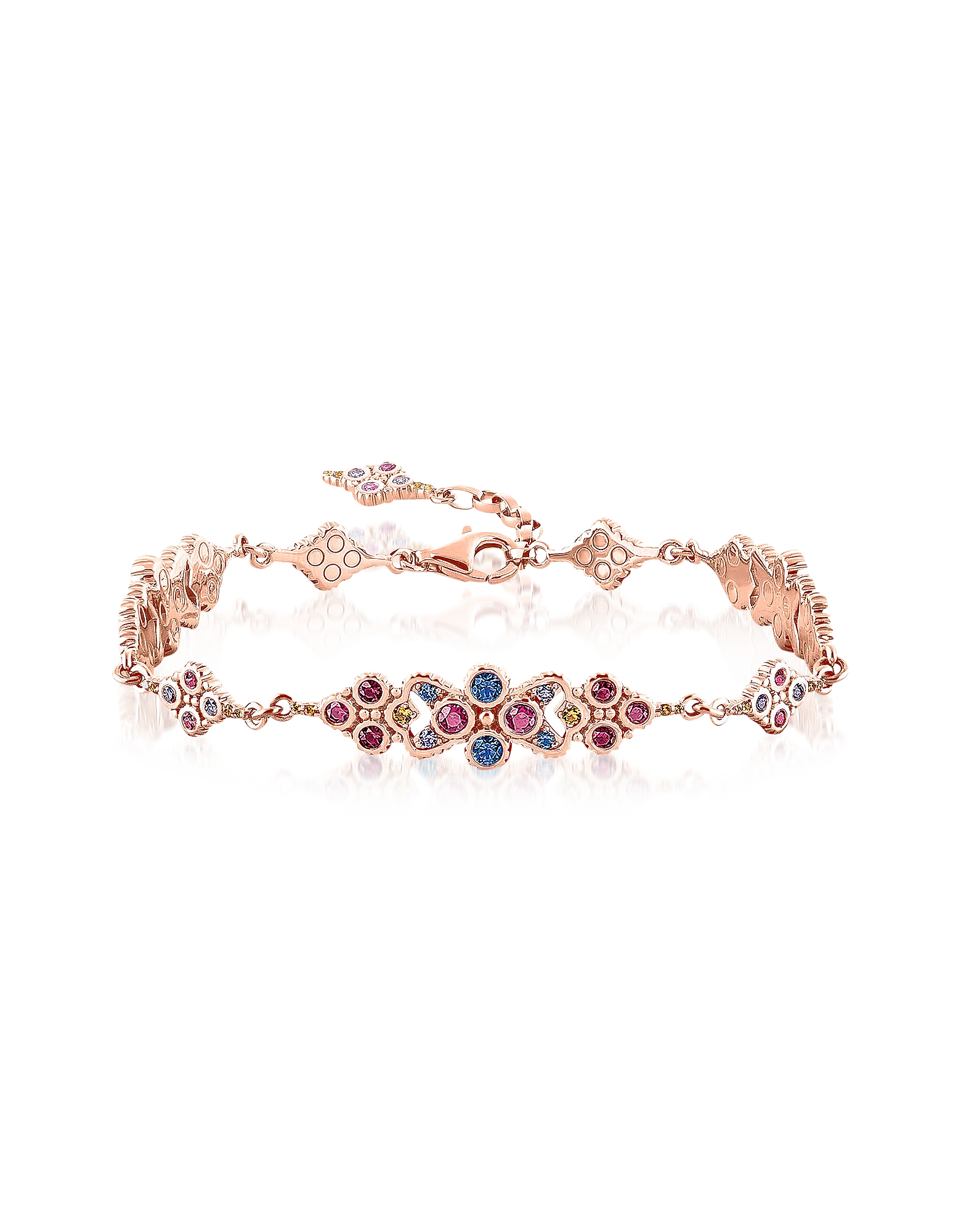 18k Rose Gold Plated Sterling Silver Royalty Colorful Stones Bracelet