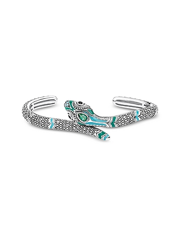 Blackened Sterling Silver Enamel and Glass-ceramic Stones Snake Bangle