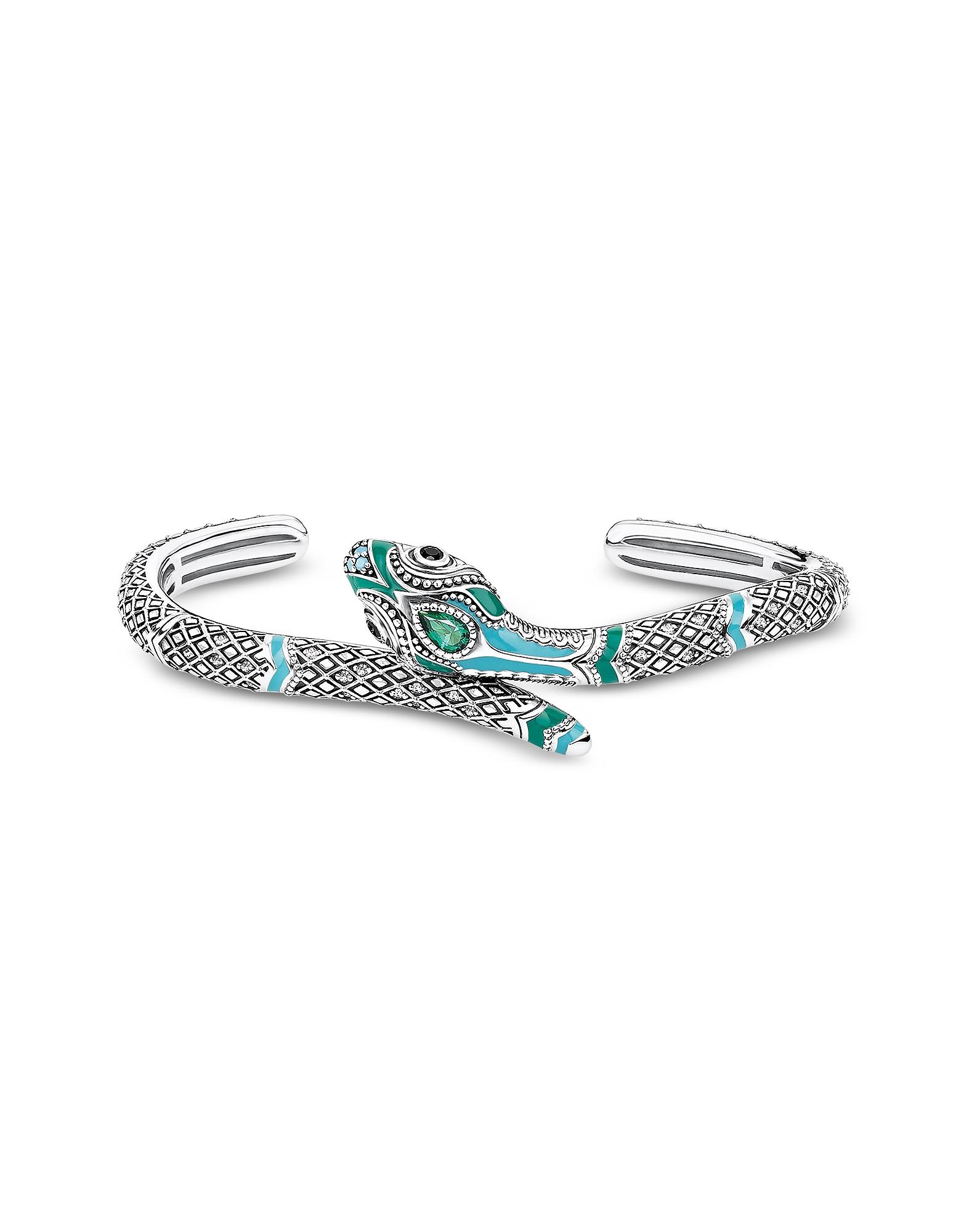 Thomas Sabo Bracelets, Blackened Sterling Silver, Enamel and Glass-ceramic Stones Snake Bangle