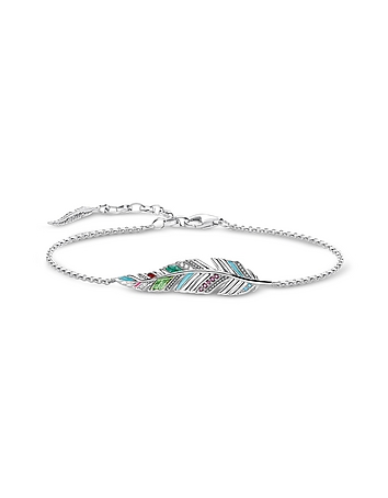 Blackened Sterling Silver Enamel and Glass-ceramic Stones Feather Bracelet