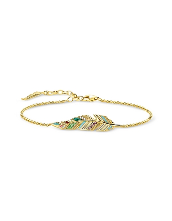 Gold Plated Sterling Silver Enamel and Glass-ceramic Stones Feather Bracelet