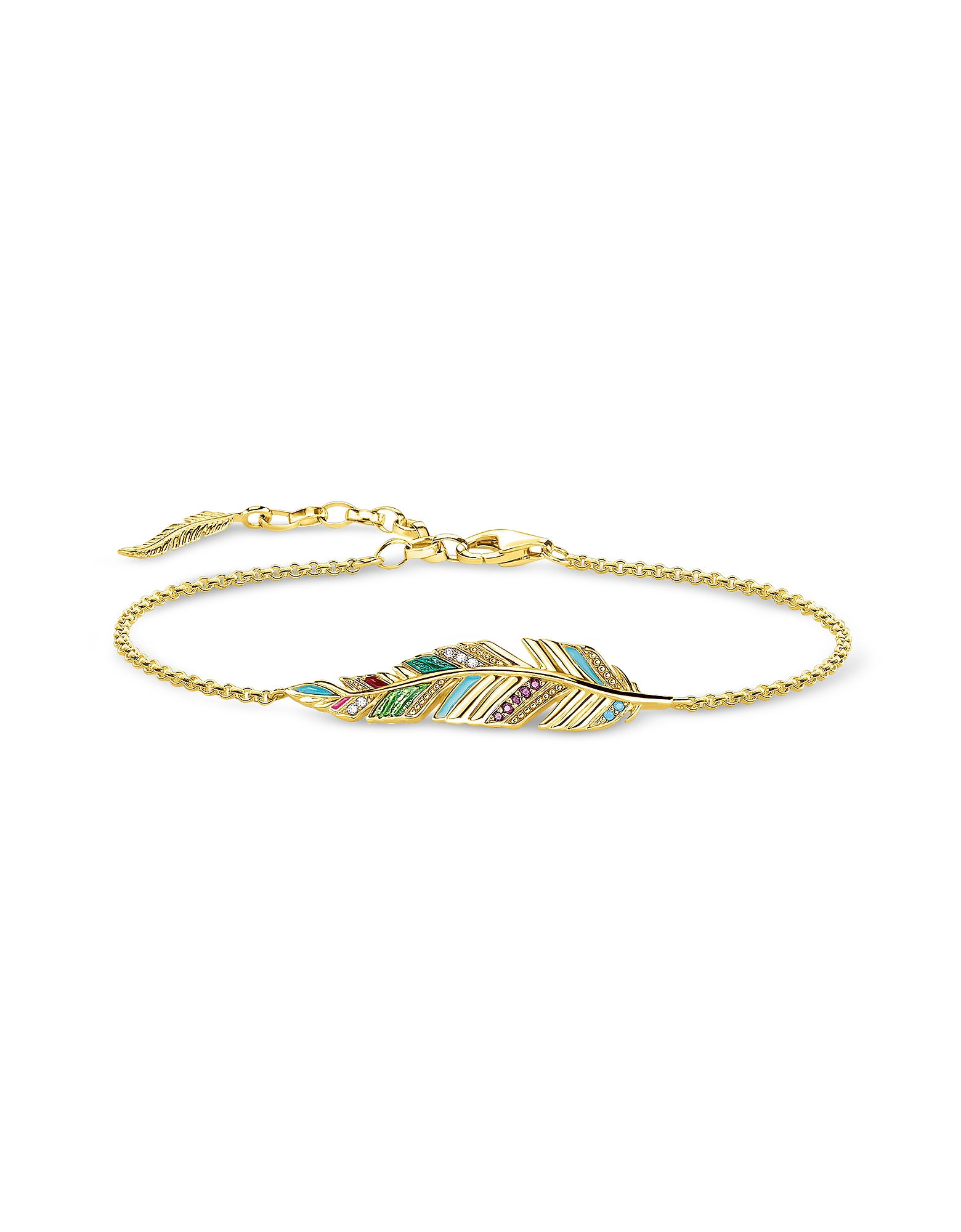 Thomas Sabo Bracelets, Gold Plated Sterling Silver, Enamel and Glass-ceramic Stones Feather Bracelet