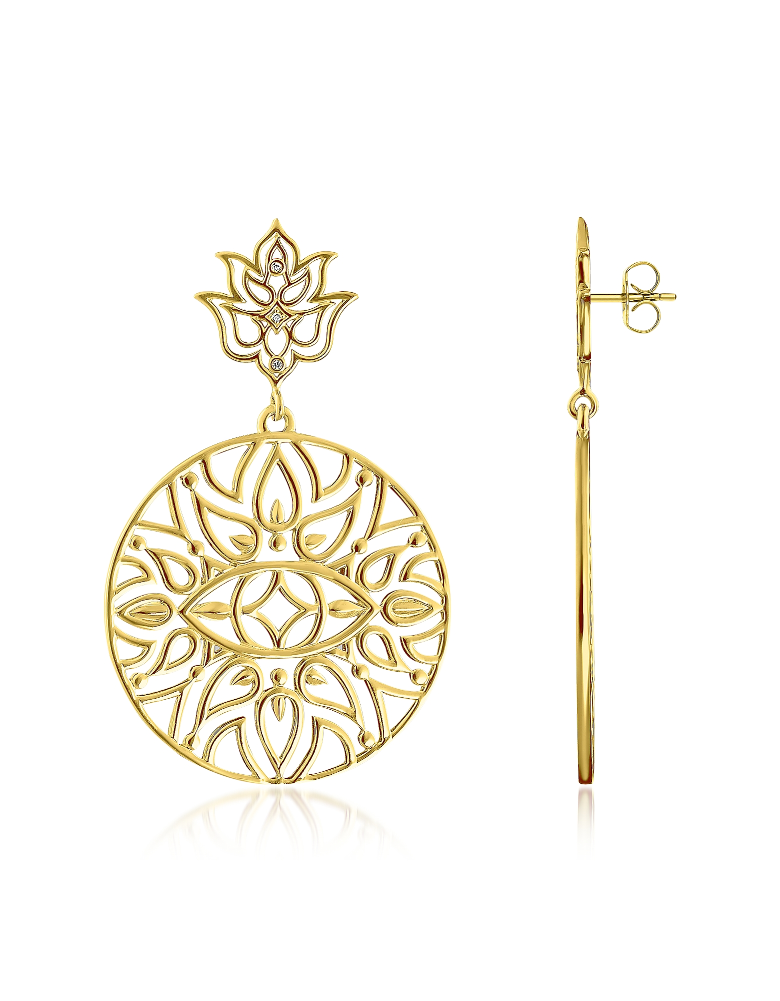 Thomas Sabo Earrings, 925 Sterling Silver & 18k Yellow Gold Plated Earrings w/White Diamond