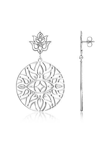 925 Sterling Silver Earrings w/White Diamond