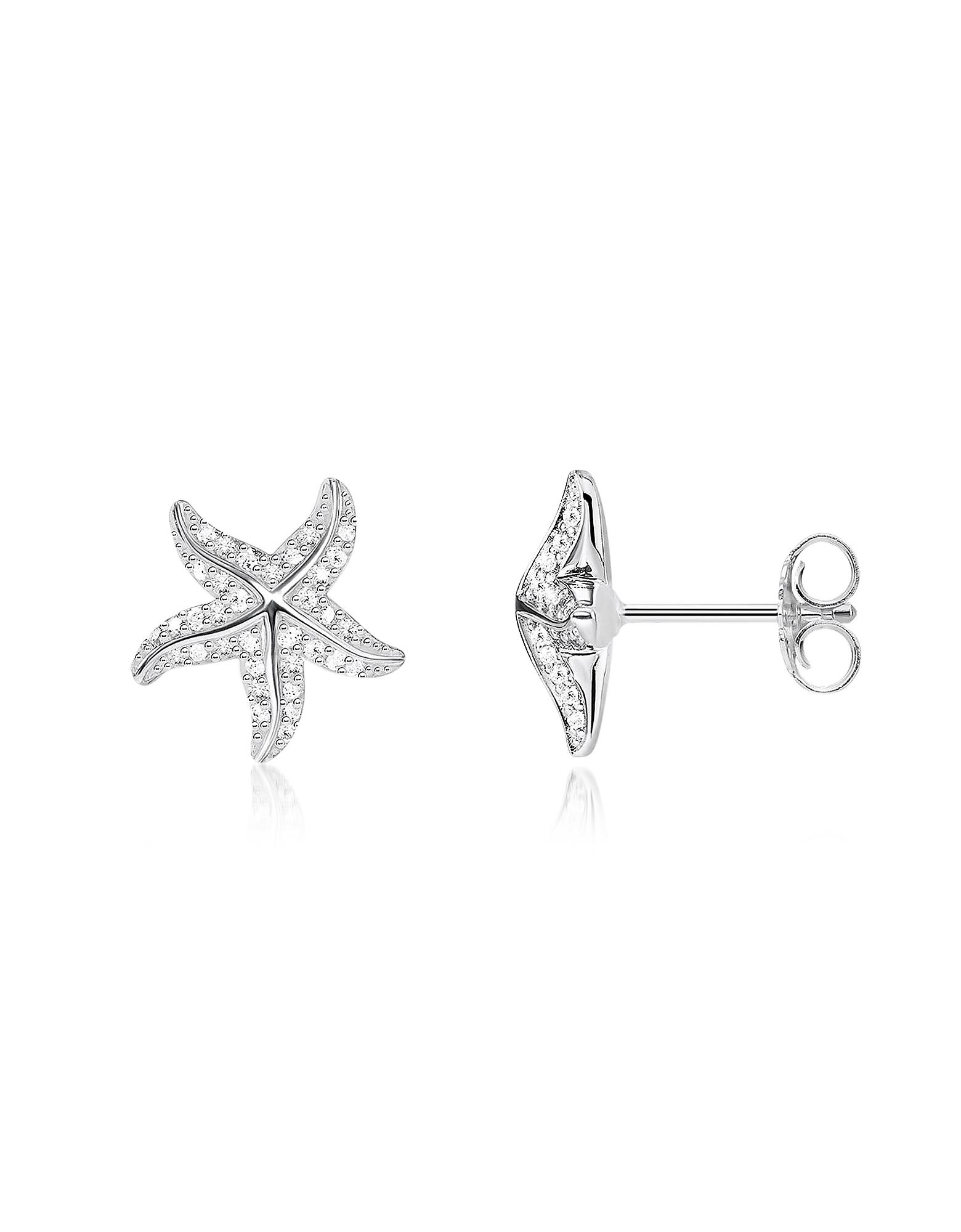 Серьги Морские Звезды из Стерлингового Серебра с Белыми Цирконами