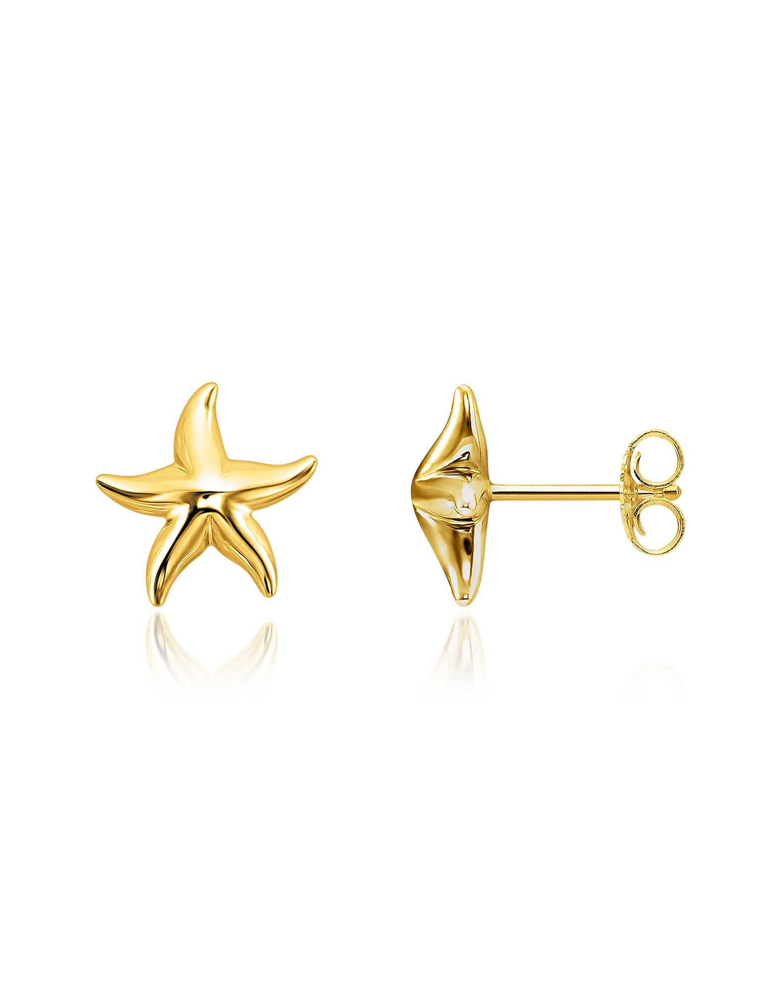 Thomas Sabo Earrings, Gold Plated Sterling Silver Starfish Earrings w/White Zirconia