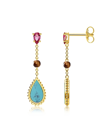 Yellow Gold Plated Sterling Silver Riviera Colours Earrings w/Turquoise Synt..