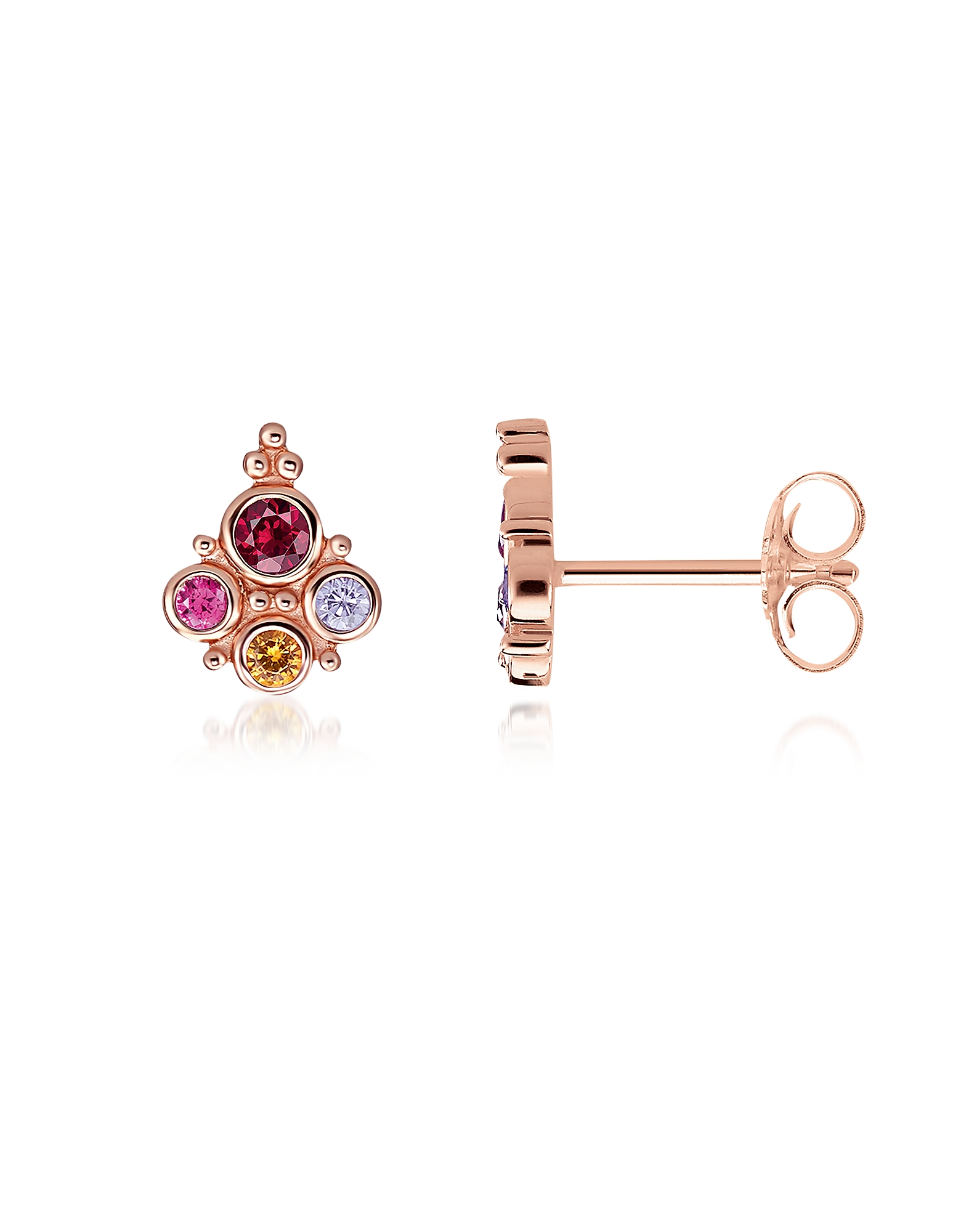 18k Rose Gold Plated Sterling Silver Royalty Colorful Stones Ear studs