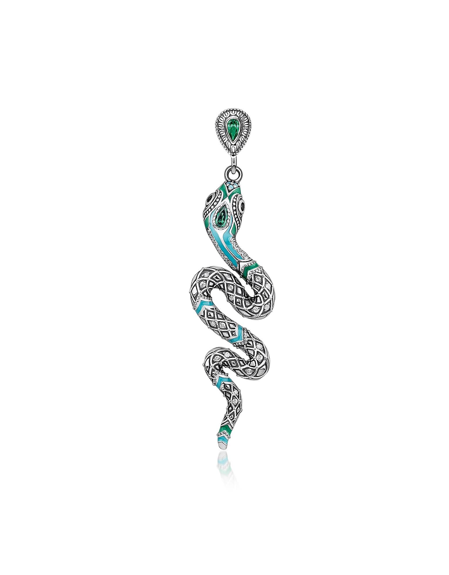 Серьга Змея из Затемненного Стерлингового Серебра, Эмали и Стеклянно-Керамических Камней