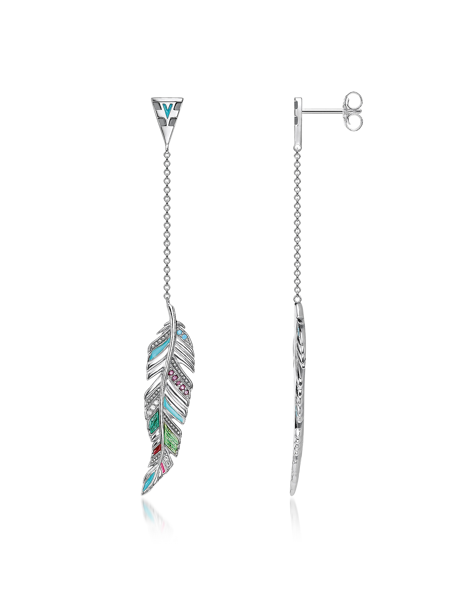 Blackened Sterling Silver, Enamel and Glass-ceramic Stones Feathers Long Earrings