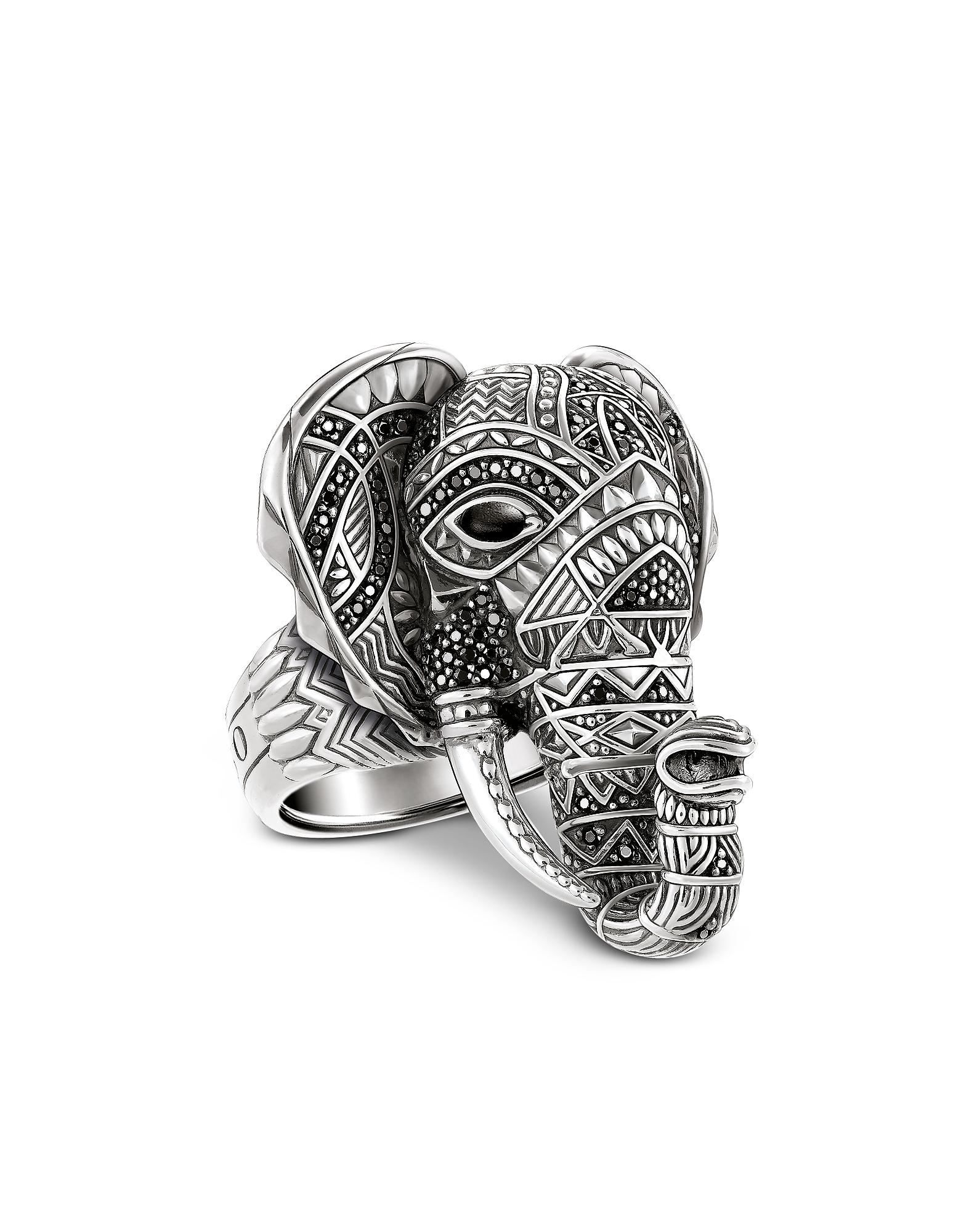 Anello Elefante in Argento con Pietre Nere