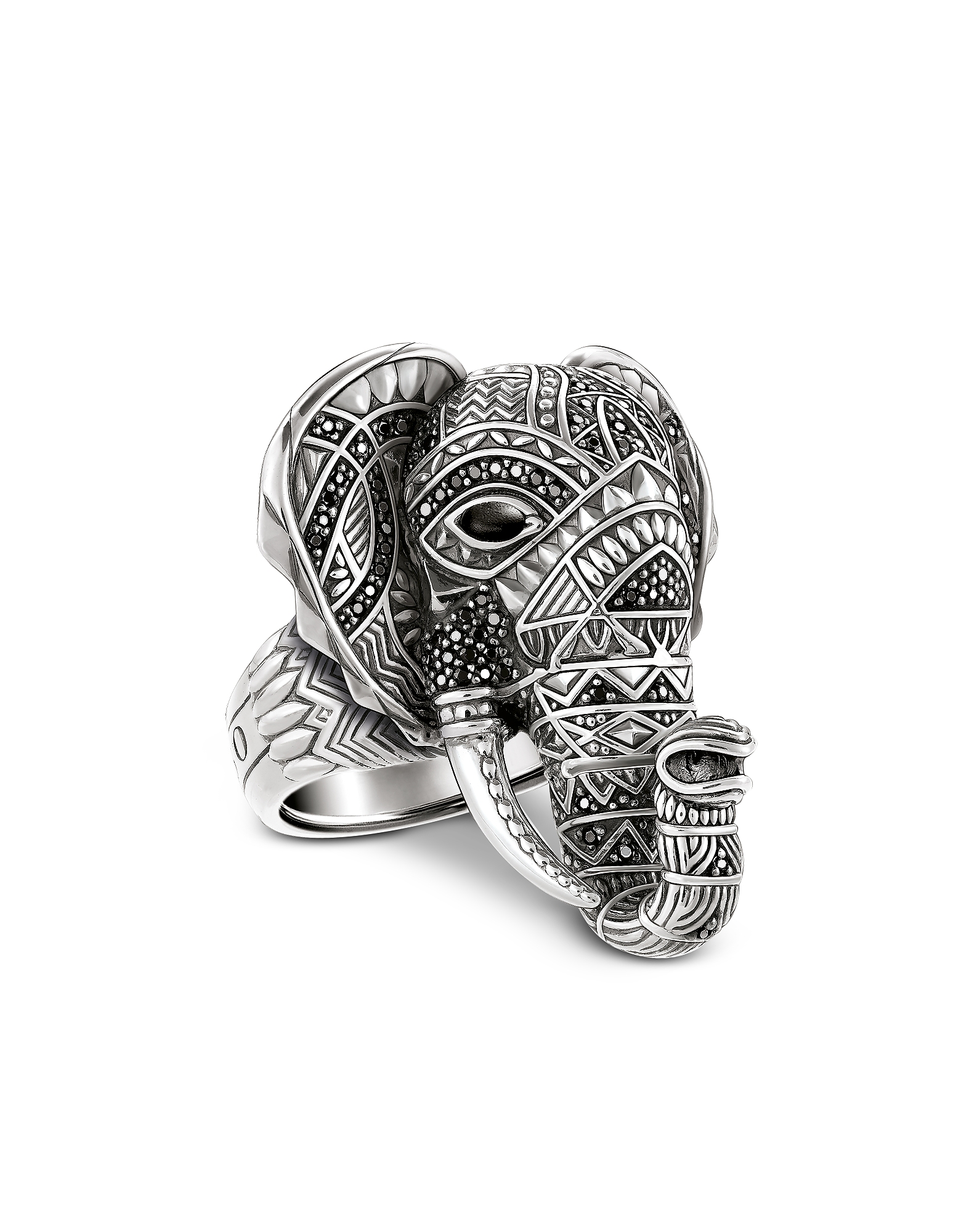 Thomas Sabo Rings, Blackened Sterling Silver Elephant Ring w/Black Zirconia Pavè
