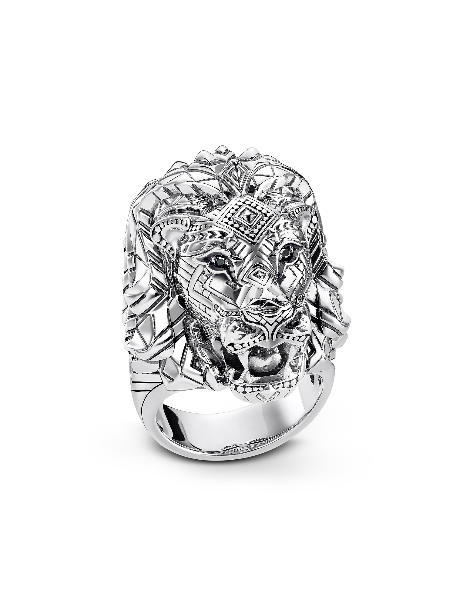 Blackened Sterling Silver Lion Ring w/Black Zirconia Pavè