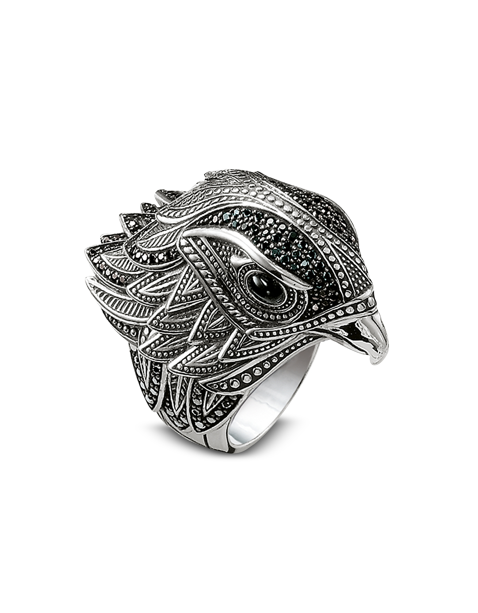 Blackened Sterling Silver Ring W/Black Cubic Zirconia