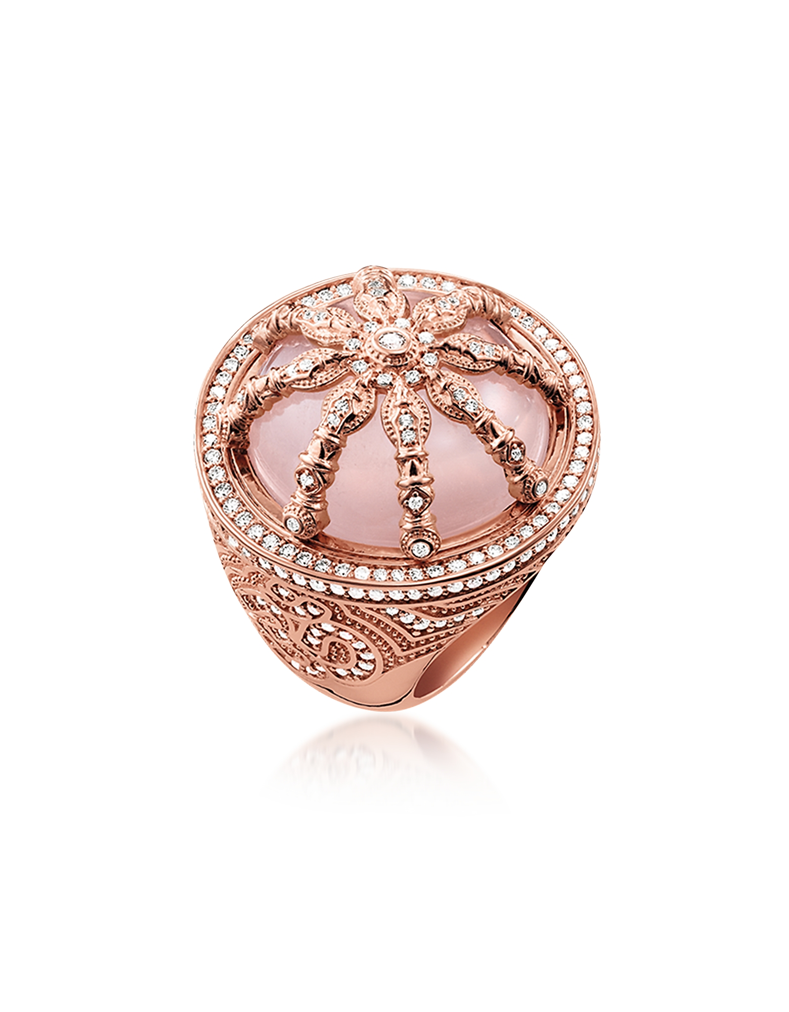 18k Rose Gold Plated Sterling Silver Ring w/White Zirconia and Rose Quartz