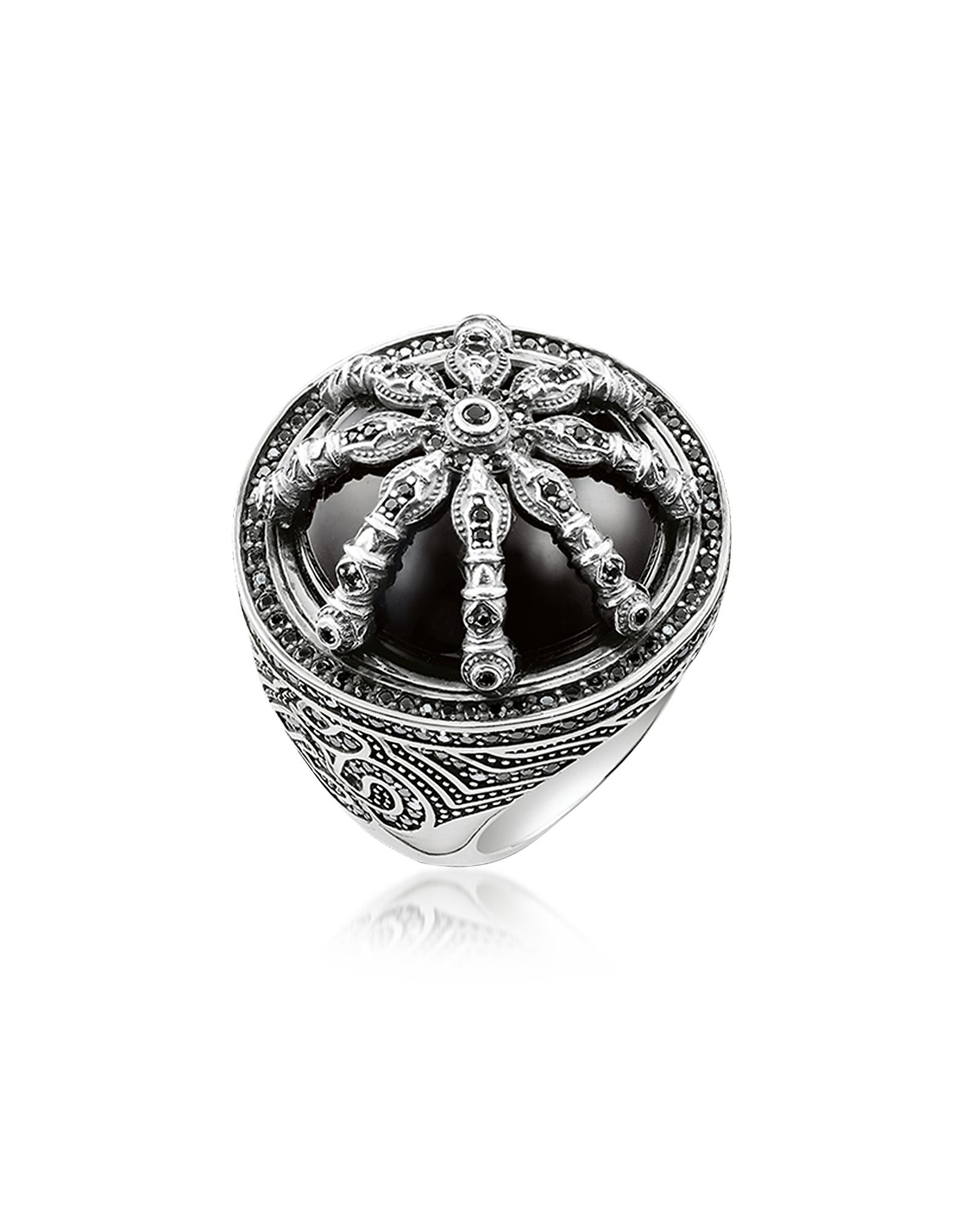 Thomas Sabo Rings, Blackened Sterling Silver Ring w/Black Zirconia and Onyx