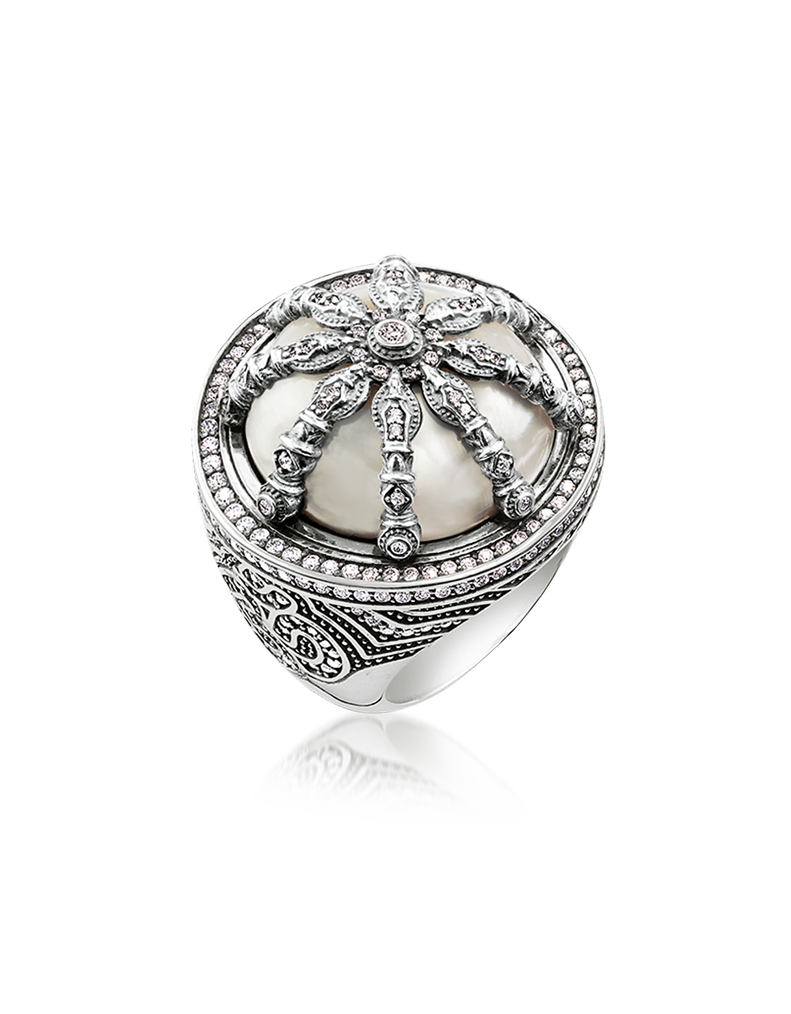 Thomas Sabo Rings, Blackened Sterling Silver & Mother of Pearl Ring w/White Cubic Zirconia
