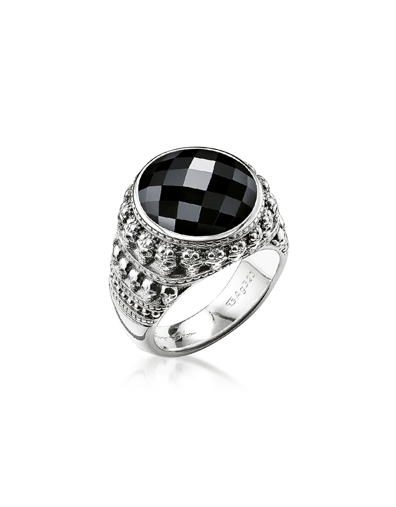 Thomas Sabo Rings, Rebel Skulls Sterling Silver Ring w/Onyx