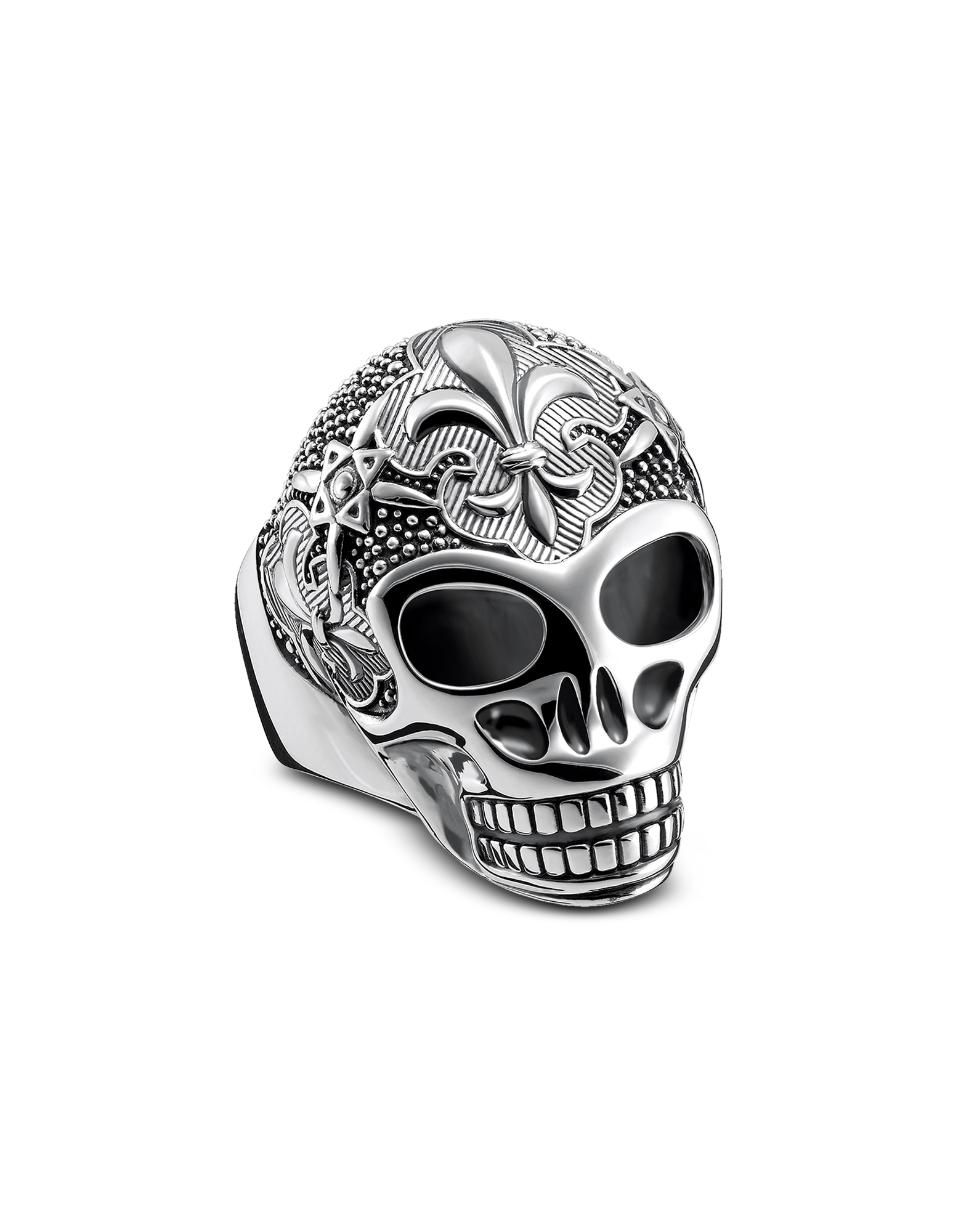 Image of Sterling Silver Lily Skull Ring